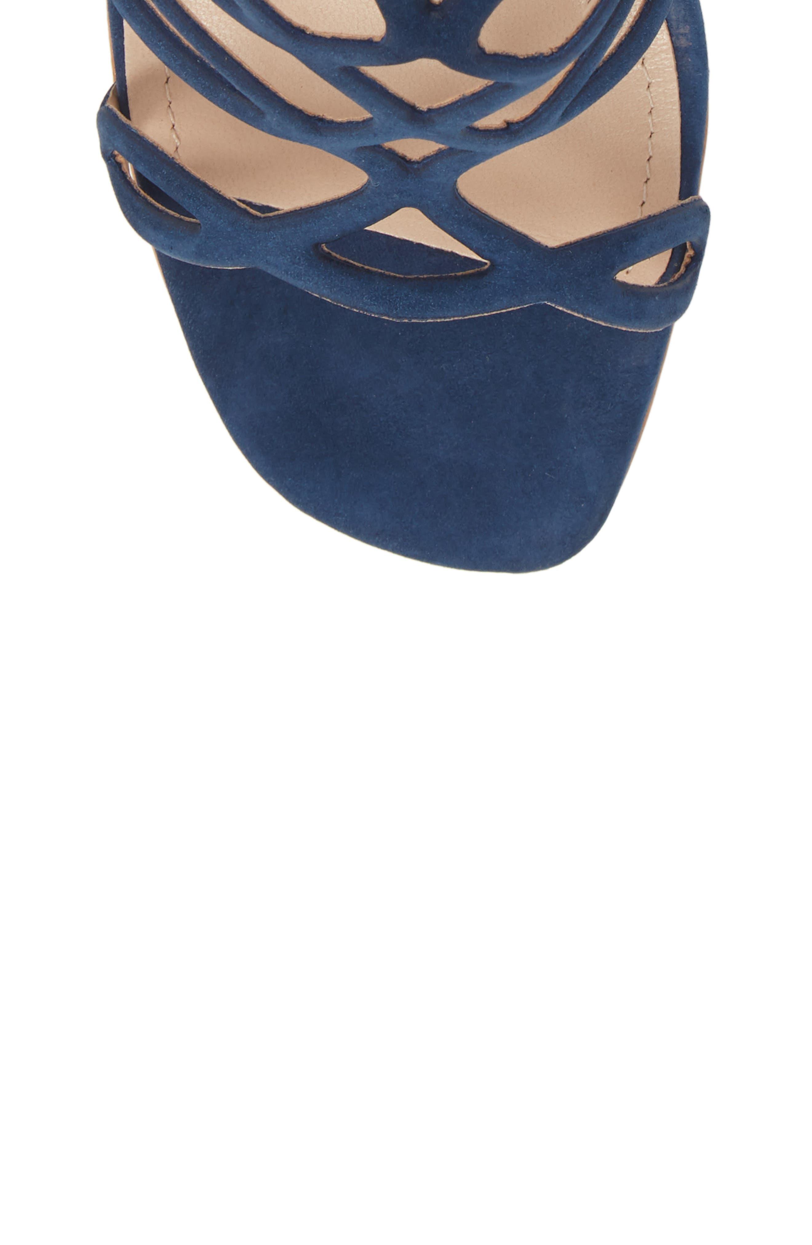 Nivia Sandal,                             Alternate thumbnail 5, color,                             BLUE NUBUCK LEATHER