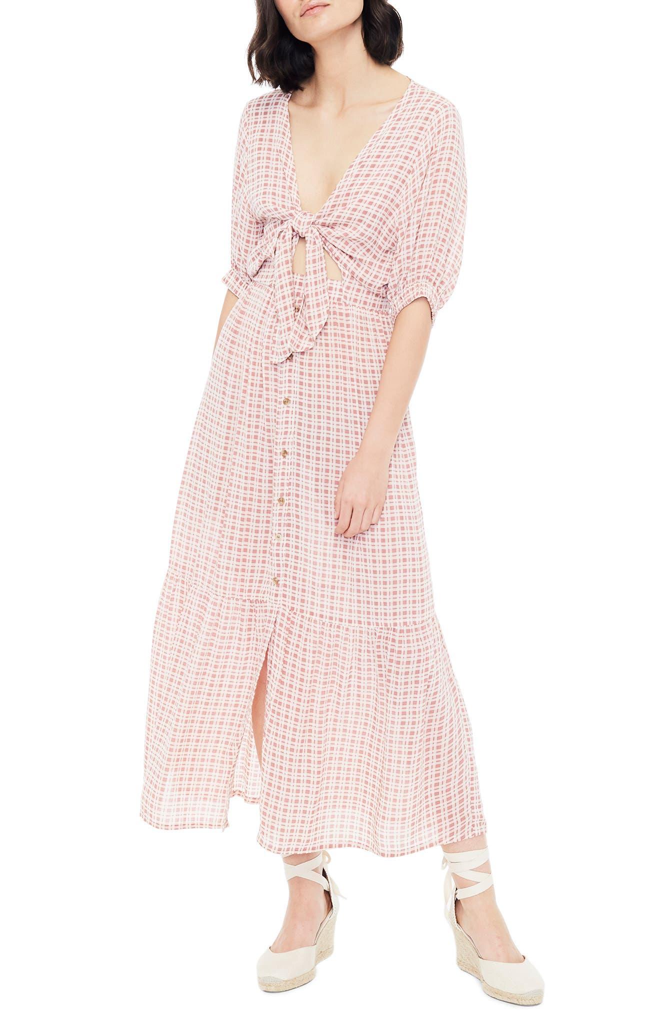 FAITHFULL THE BRAND Maple Midi Dress, Main, color, EMILINAH CHECK PRINT
