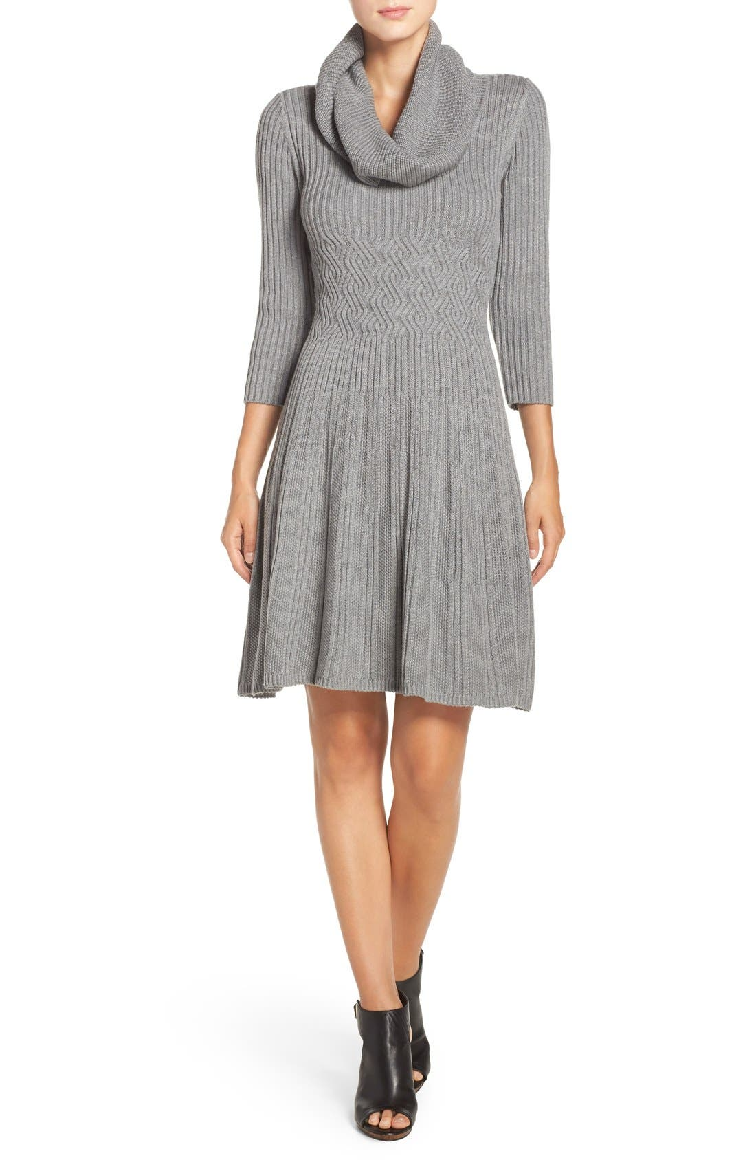Fit & Flare Sweater Dress,                             Alternate thumbnail 5, color,                             030
