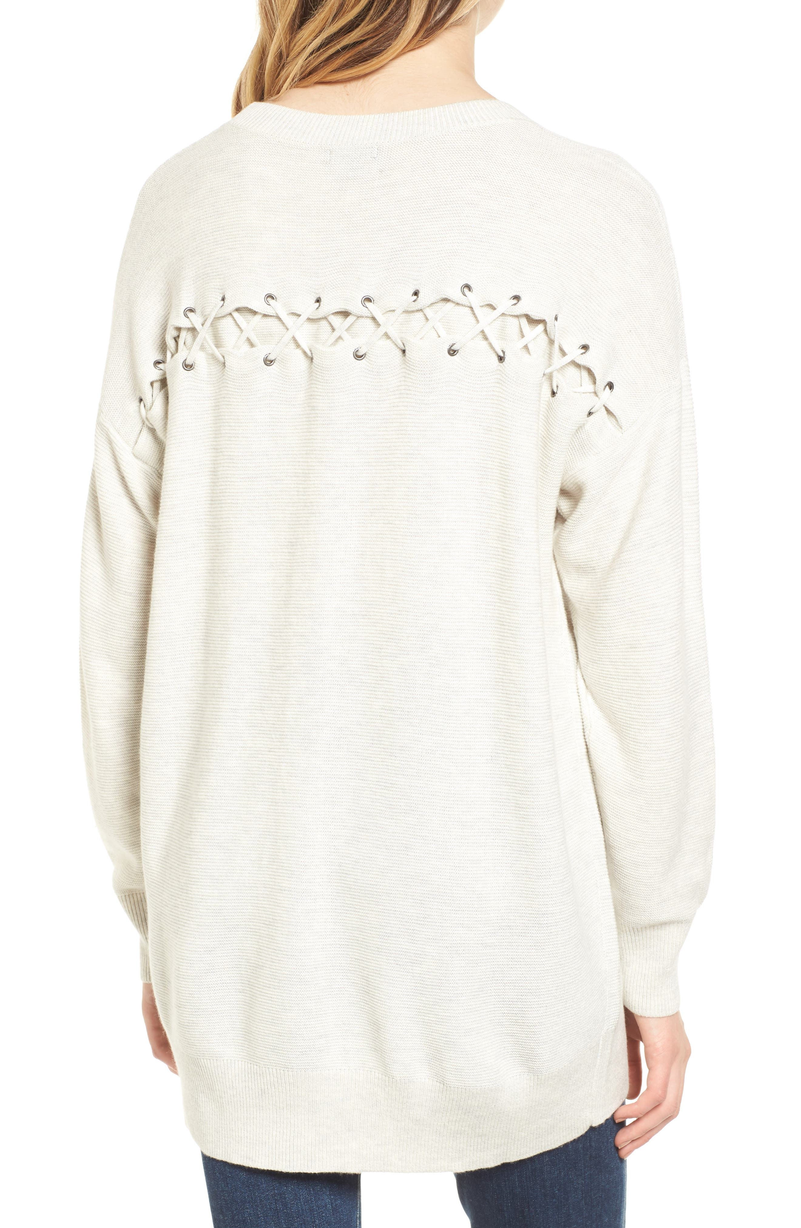 Laced Back Sweater,                             Alternate thumbnail 6, color,