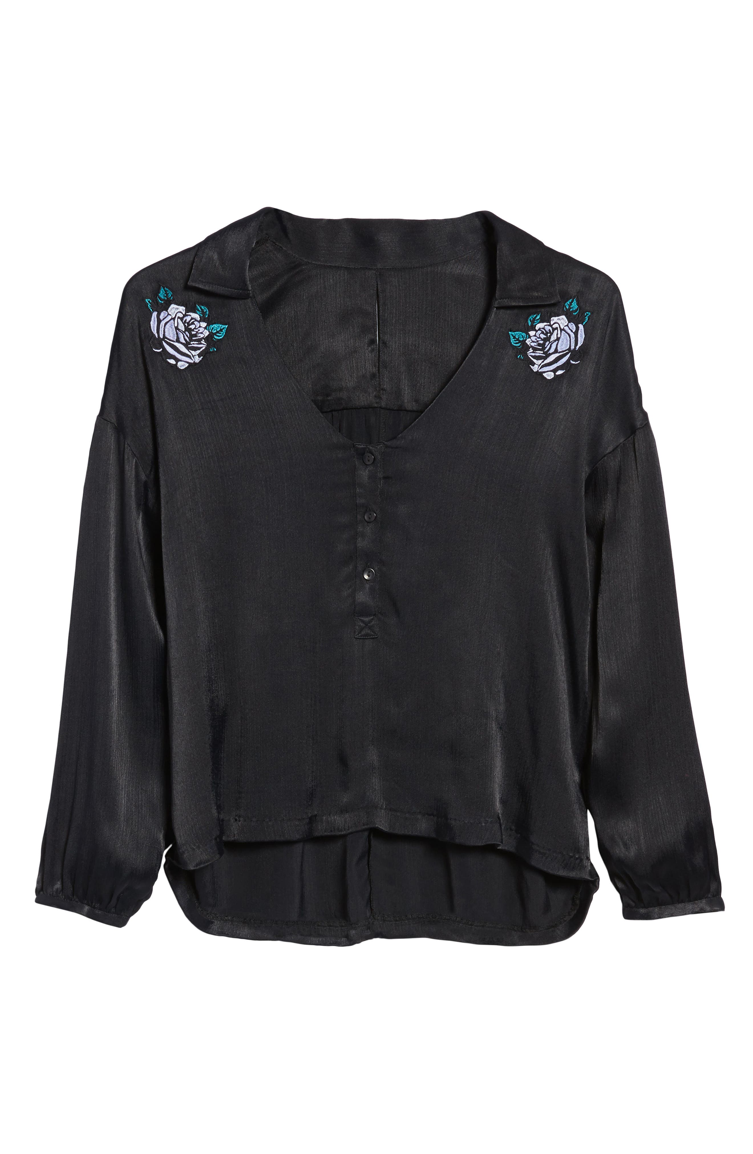 Naomi Embroidered Blouse,                             Alternate thumbnail 6, color,                             001