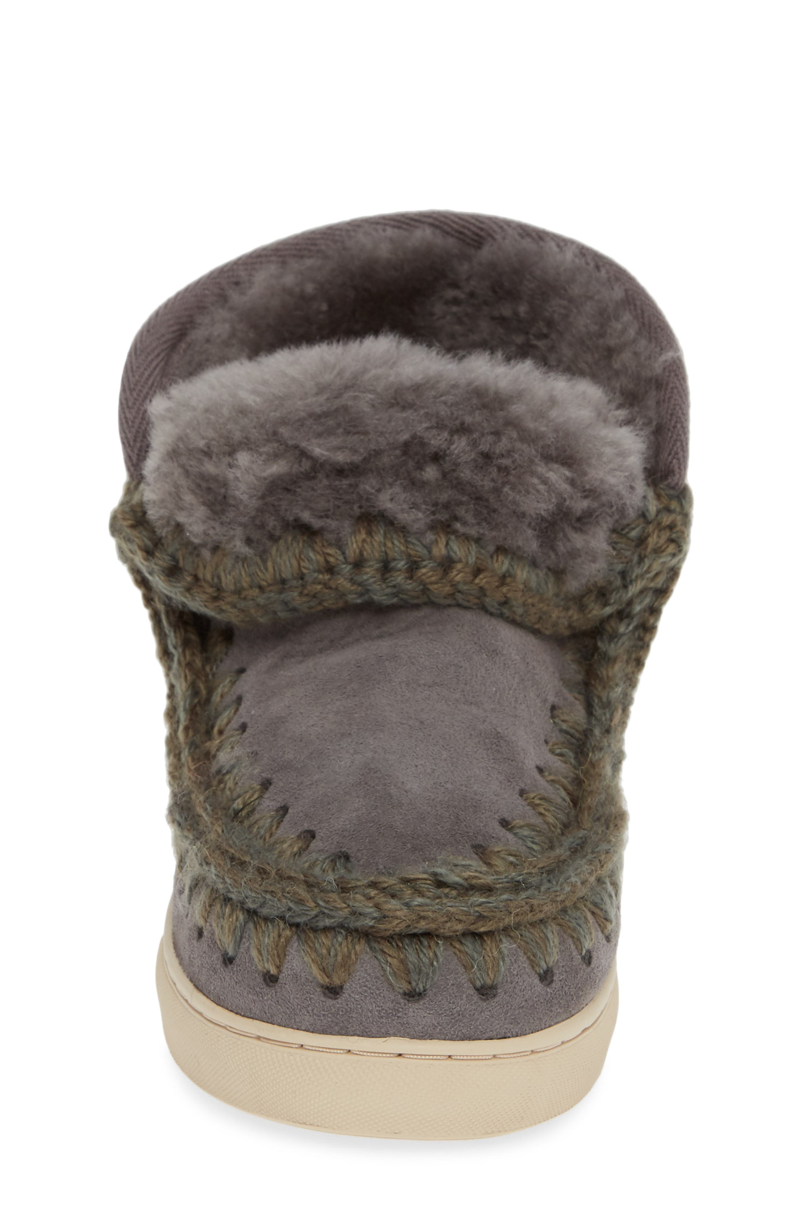MOU,                             Embellished Genuine Shearling Sneaker Boot,                             Alternate thumbnail 4, color,                             IRON