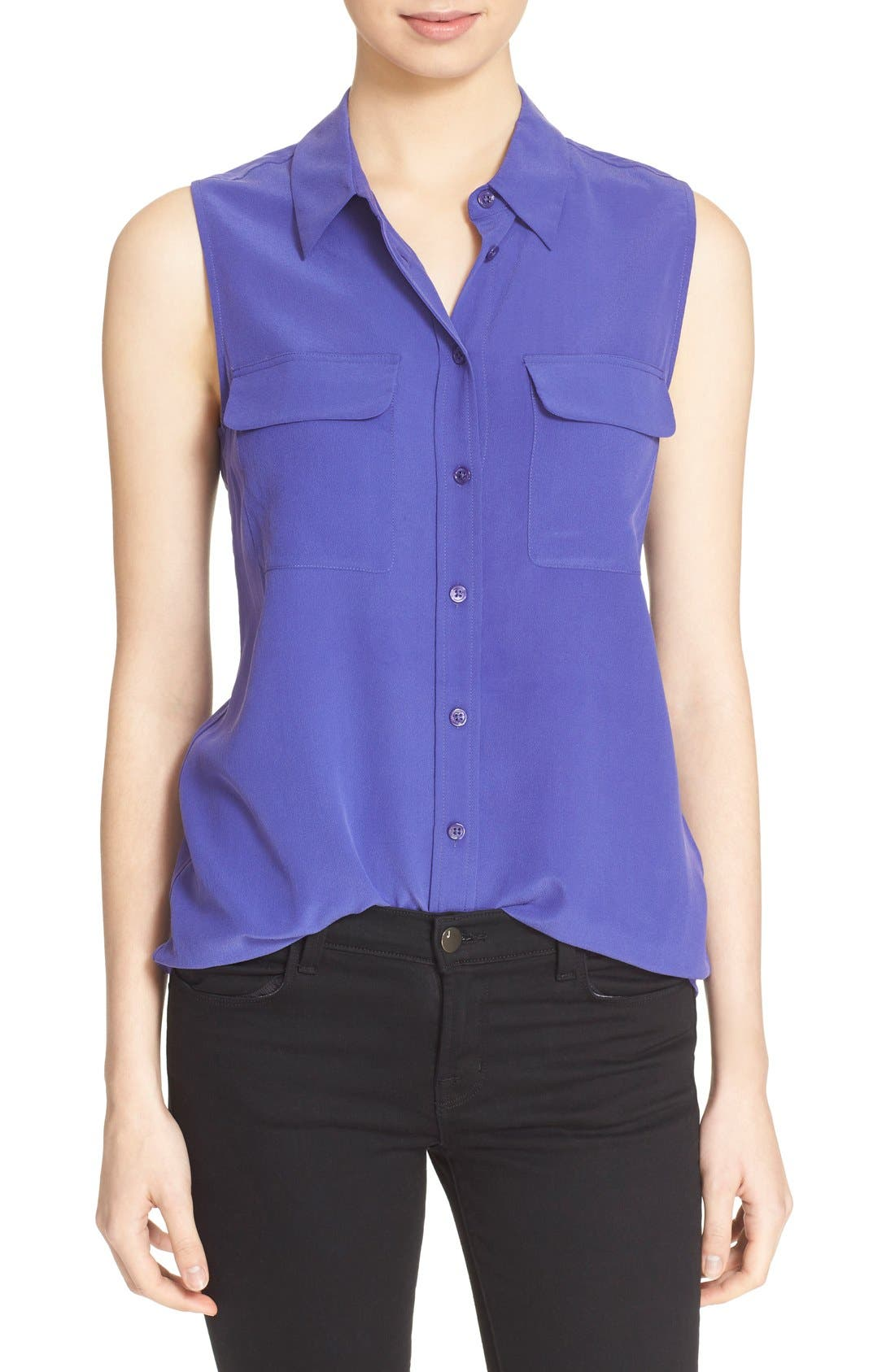 'Slim Signature' Sleeveless Silk Shirt,                             Main thumbnail 28, color,