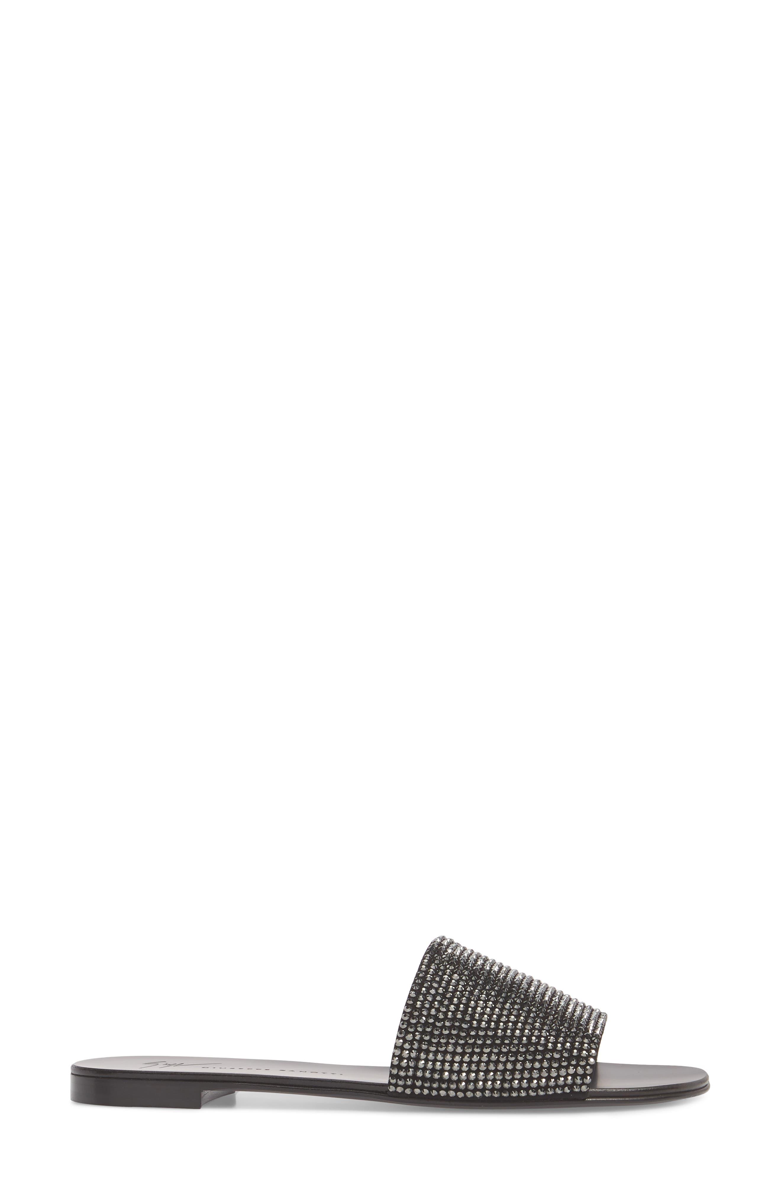 Crystal Embellished Slide Sandal,                             Alternate thumbnail 3, color,                             BLACK