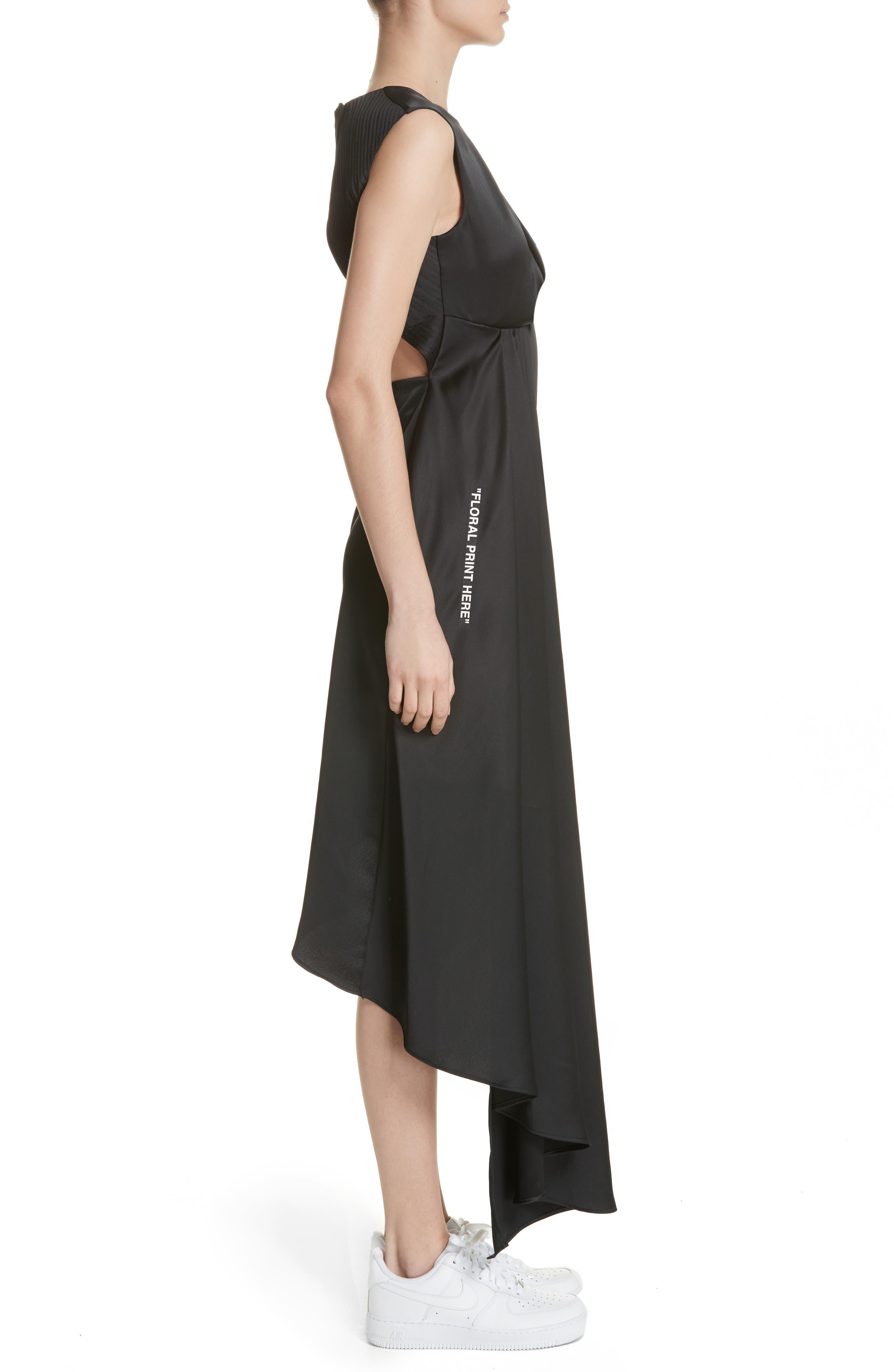 Asymmetric Satin Dress,                             Alternate thumbnail 3, color,                             001