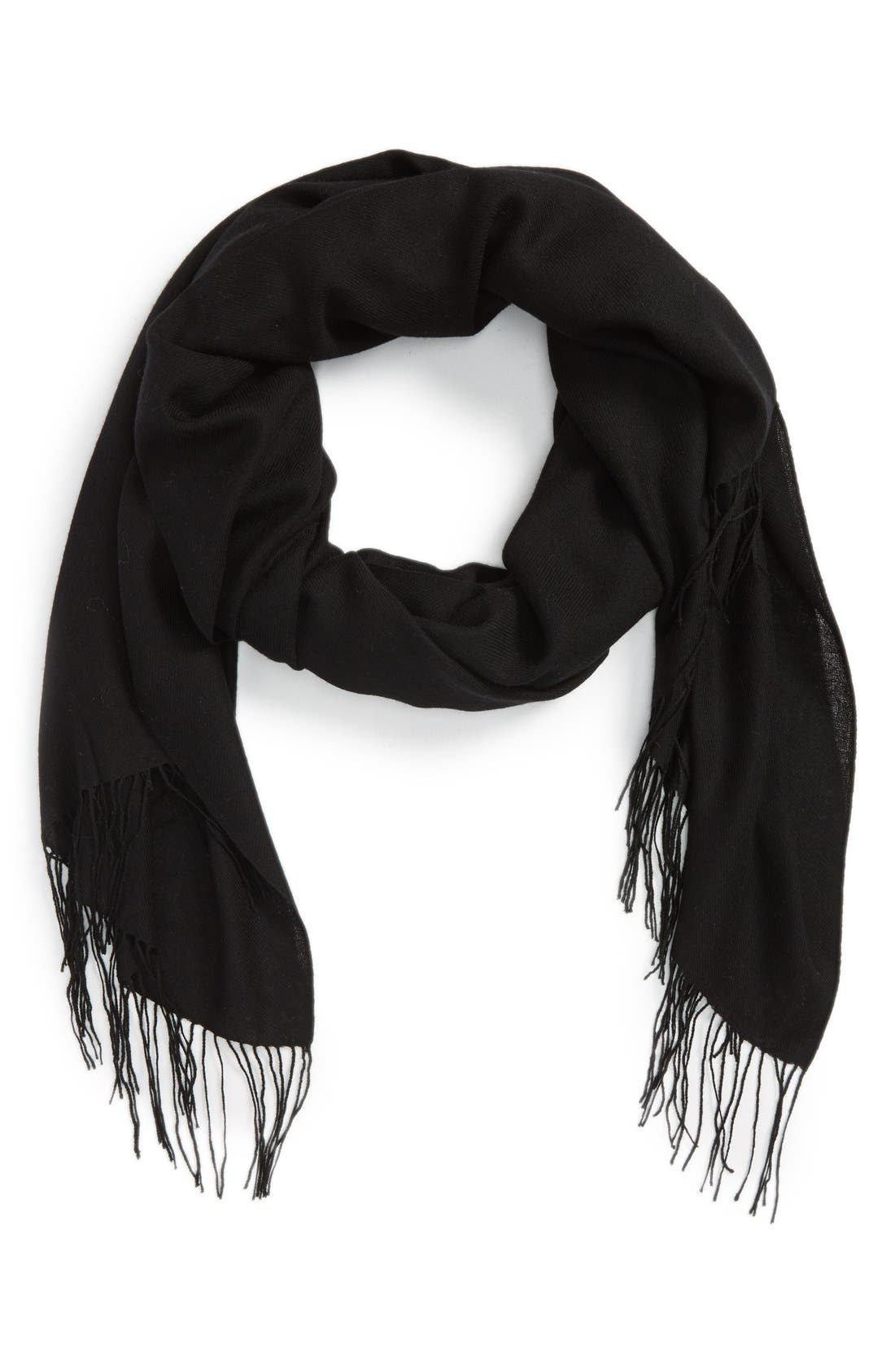 Tissue Weight Wool & Cashmere Scarf,                             Alternate thumbnail 2, color,                             BLACK