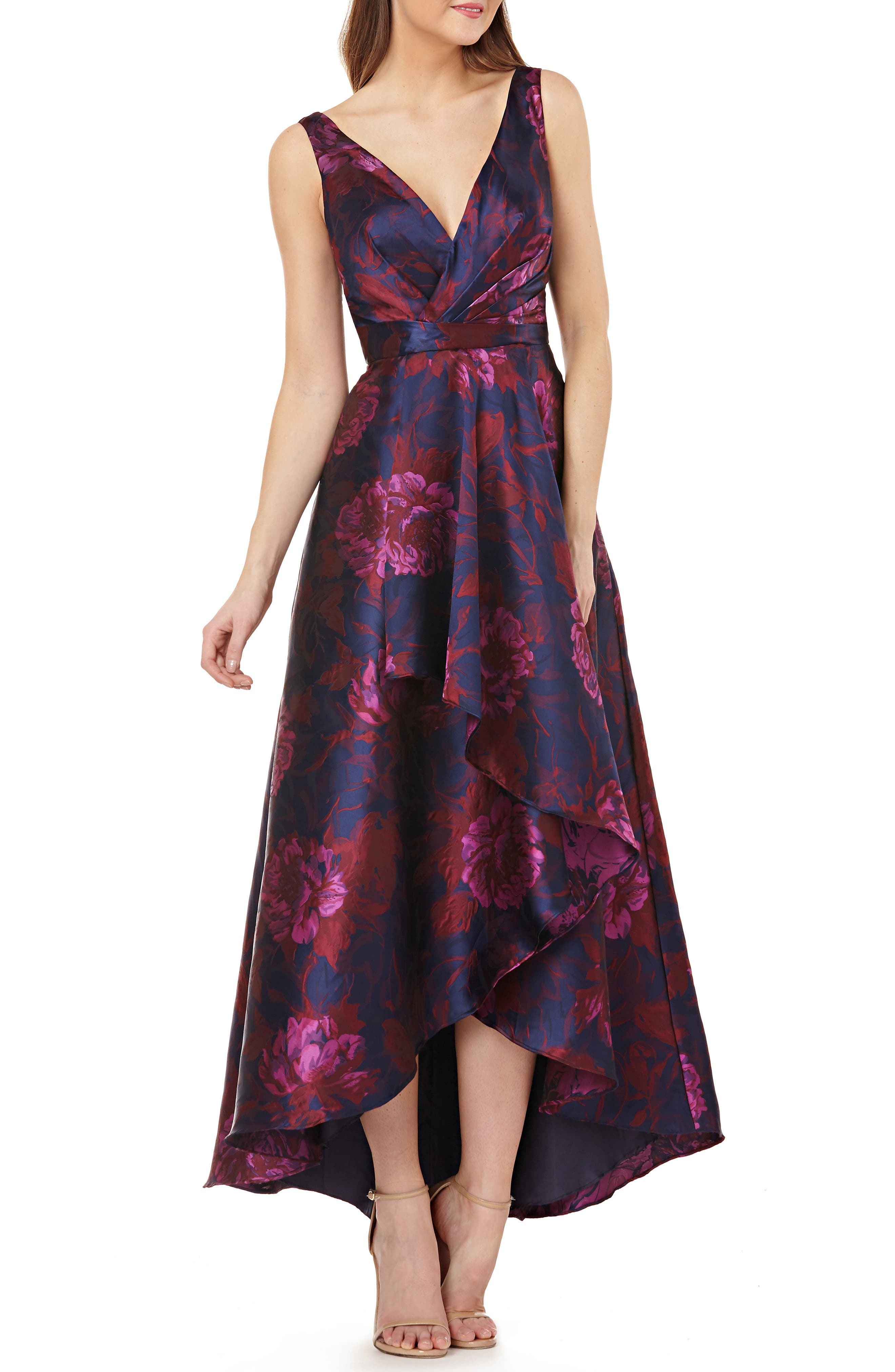 CARMEN MARC VALVO INFUSION Faux-Wrap High-Low Floral Ball Gown in Blue/Pink