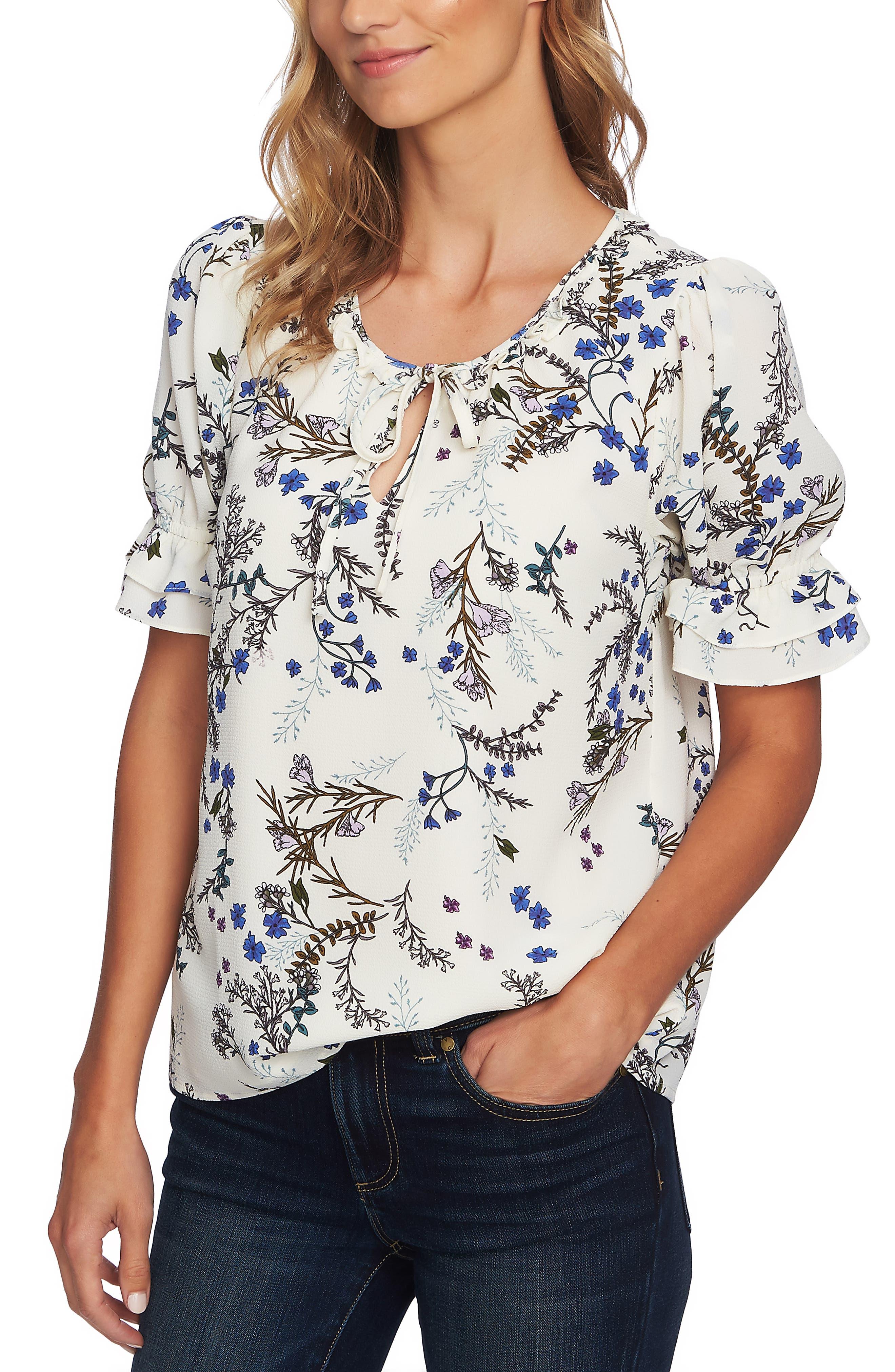 Floral Vine Ruffle Short Sleeve Top, Main, color, ANTIQUE WHITE