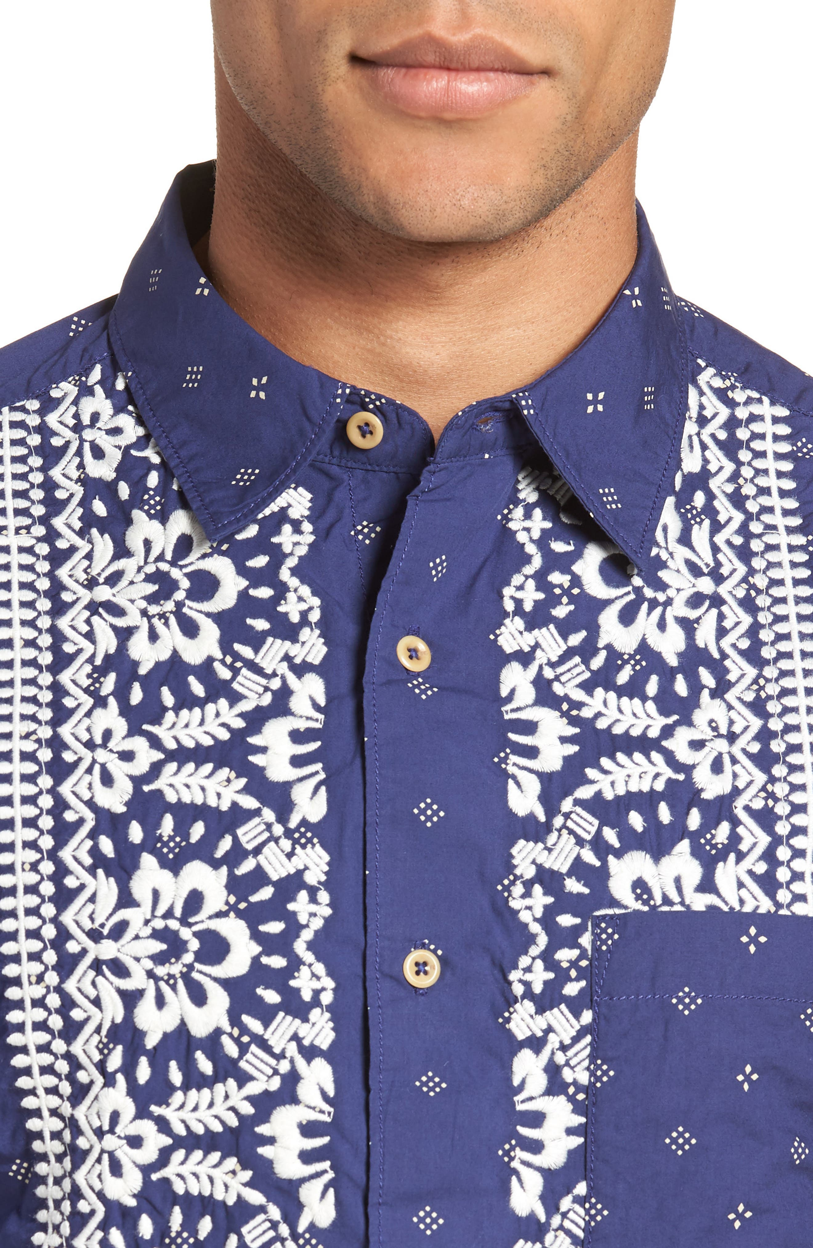 Iki Lawn Embroidered Shirt,                             Alternate thumbnail 4, color,                             PATRIOT BLUE TURTLE DOVE