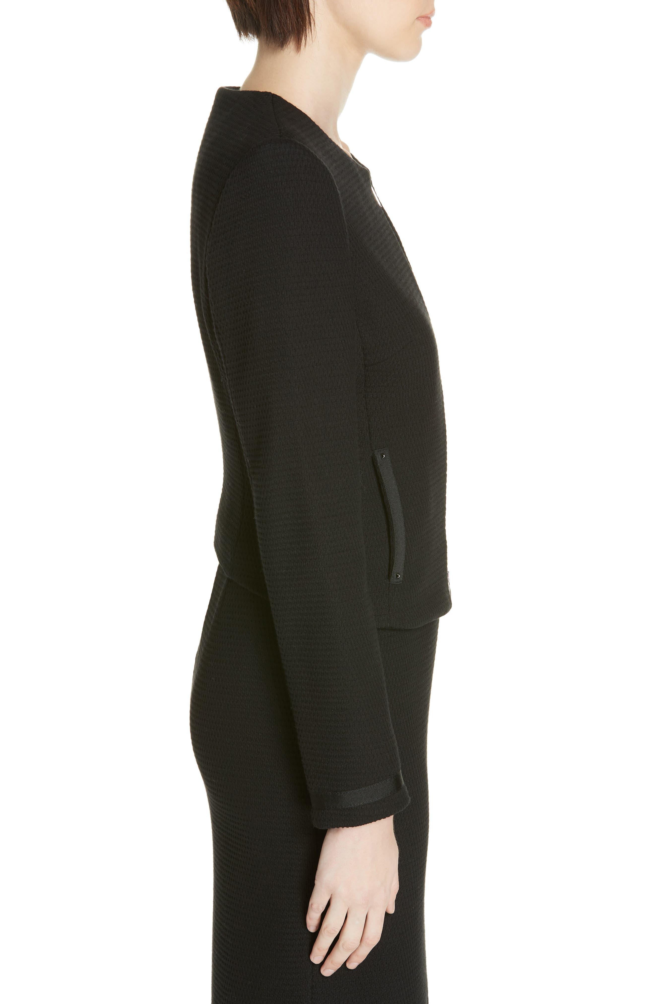 Kemio Textured Jersey Suit Jacket,                             Alternate thumbnail 3, color,                             BLACK