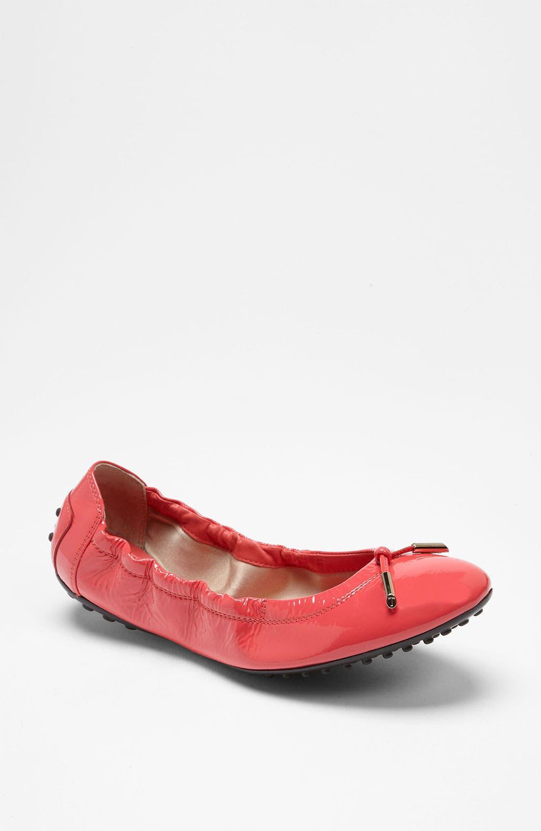 Bow Trim Patent Leather Flat,                             Main thumbnail 6, color,