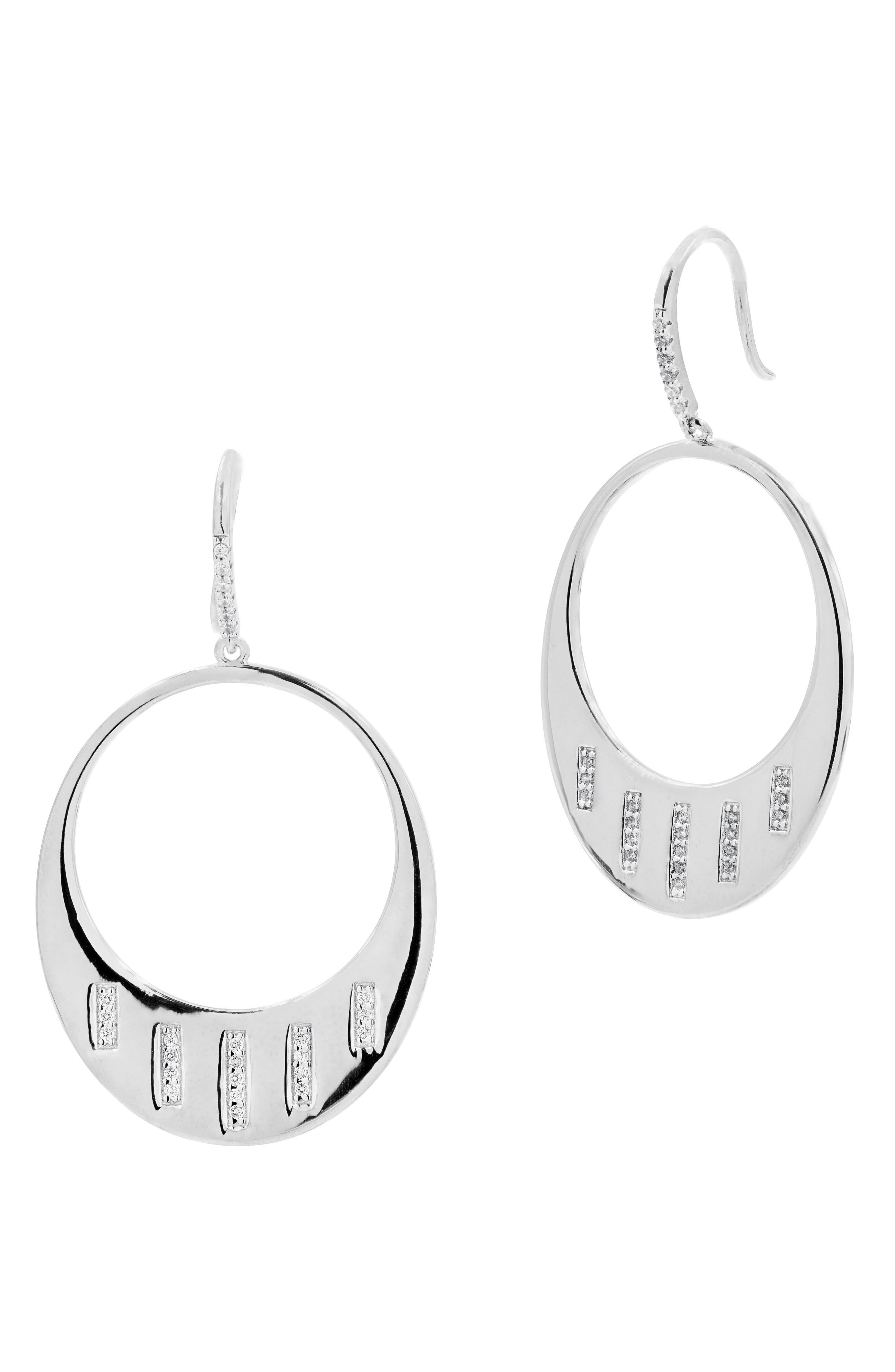Radiance Cubic Zirconia Drop Earrings,                             Main thumbnail 1, color,                             SILVER