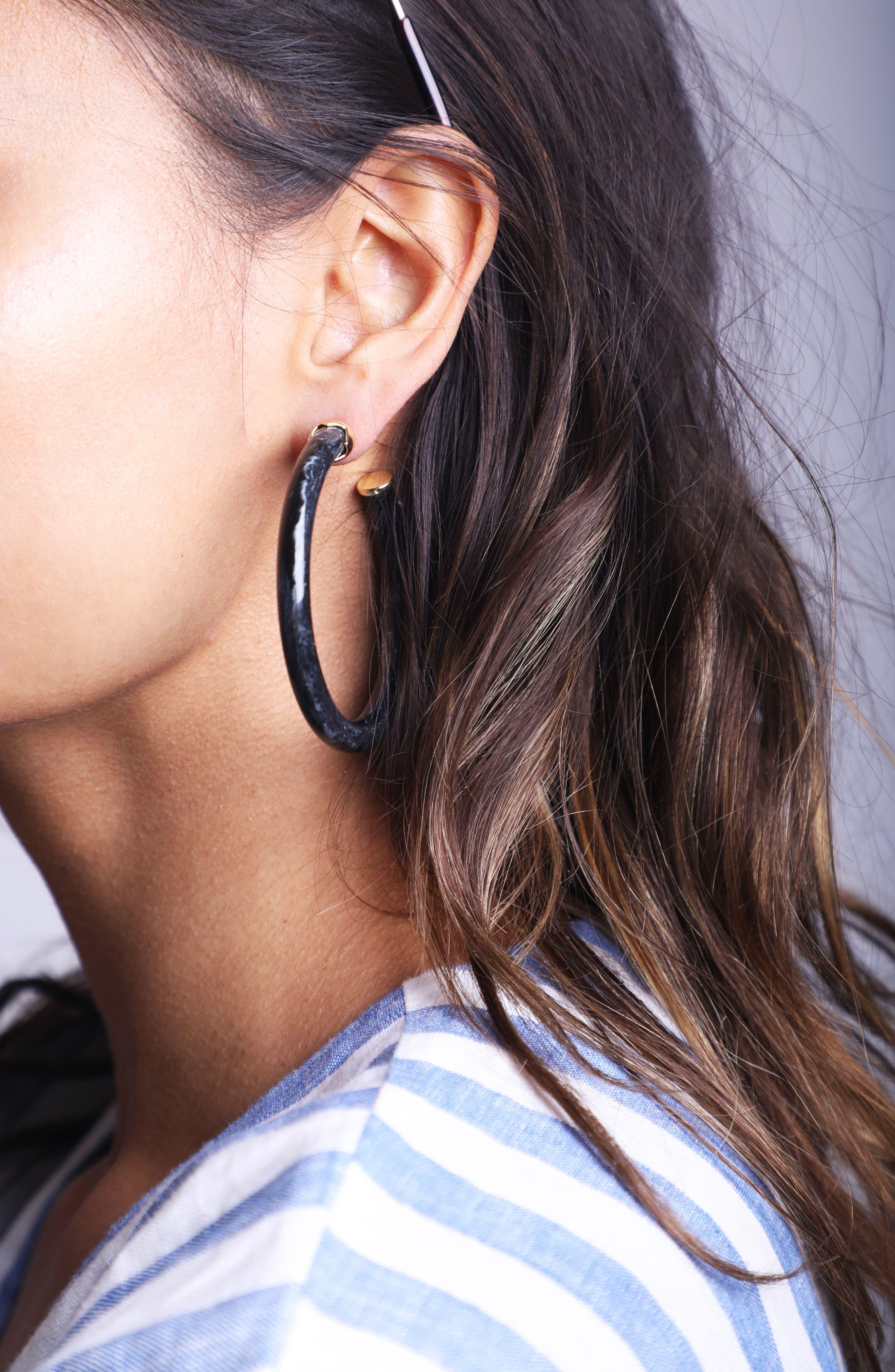 Marbleized Hoop Earrings,                             Alternate thumbnail 3, color,                             GOLD/ BLACK