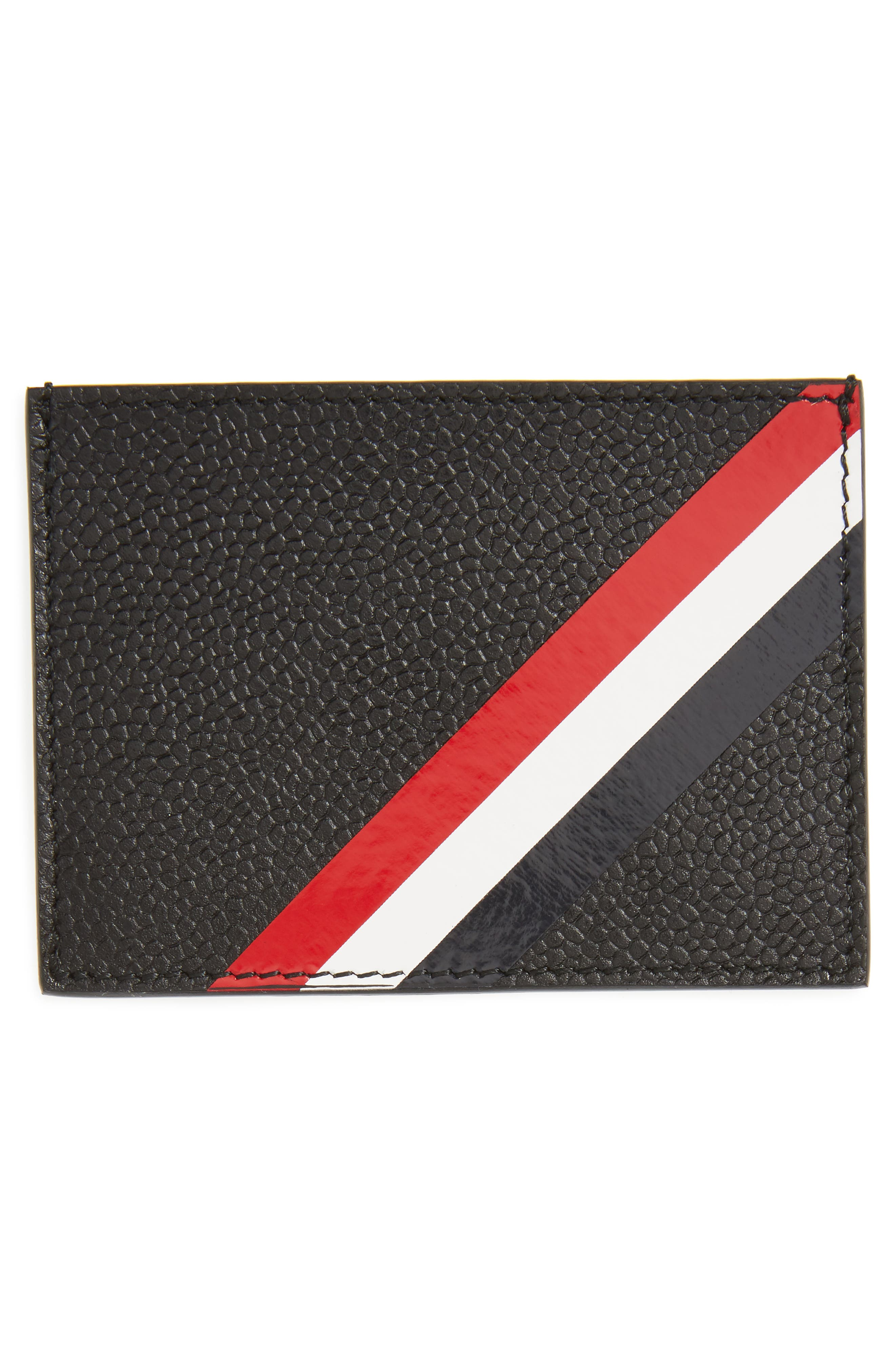 Diagonal Stripe Leather Card Case,                             Alternate thumbnail 2, color,                             001