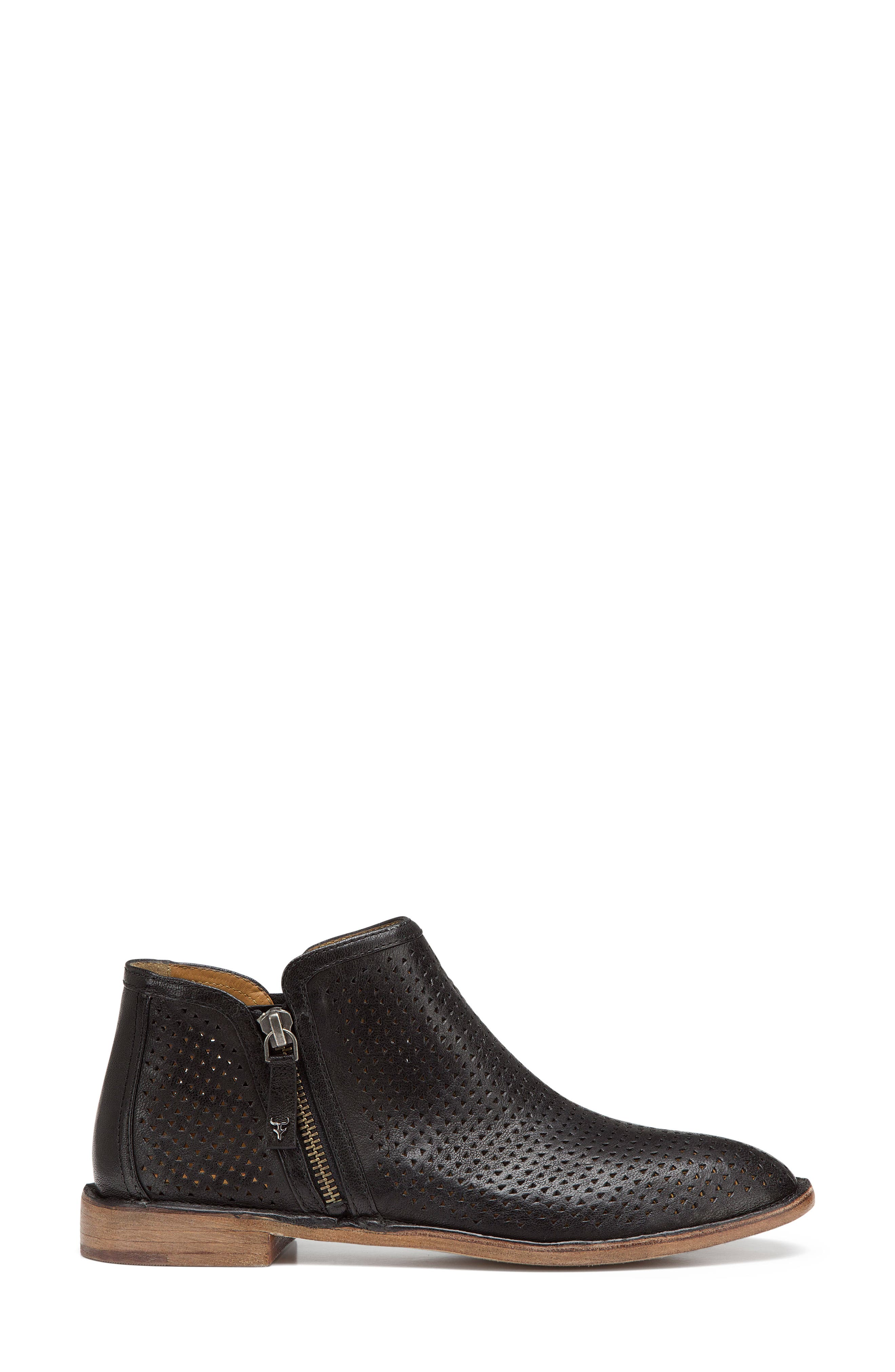 Addison Low Perforated Bootie,                             Alternate thumbnail 3, color,                             BLACK LEATHER