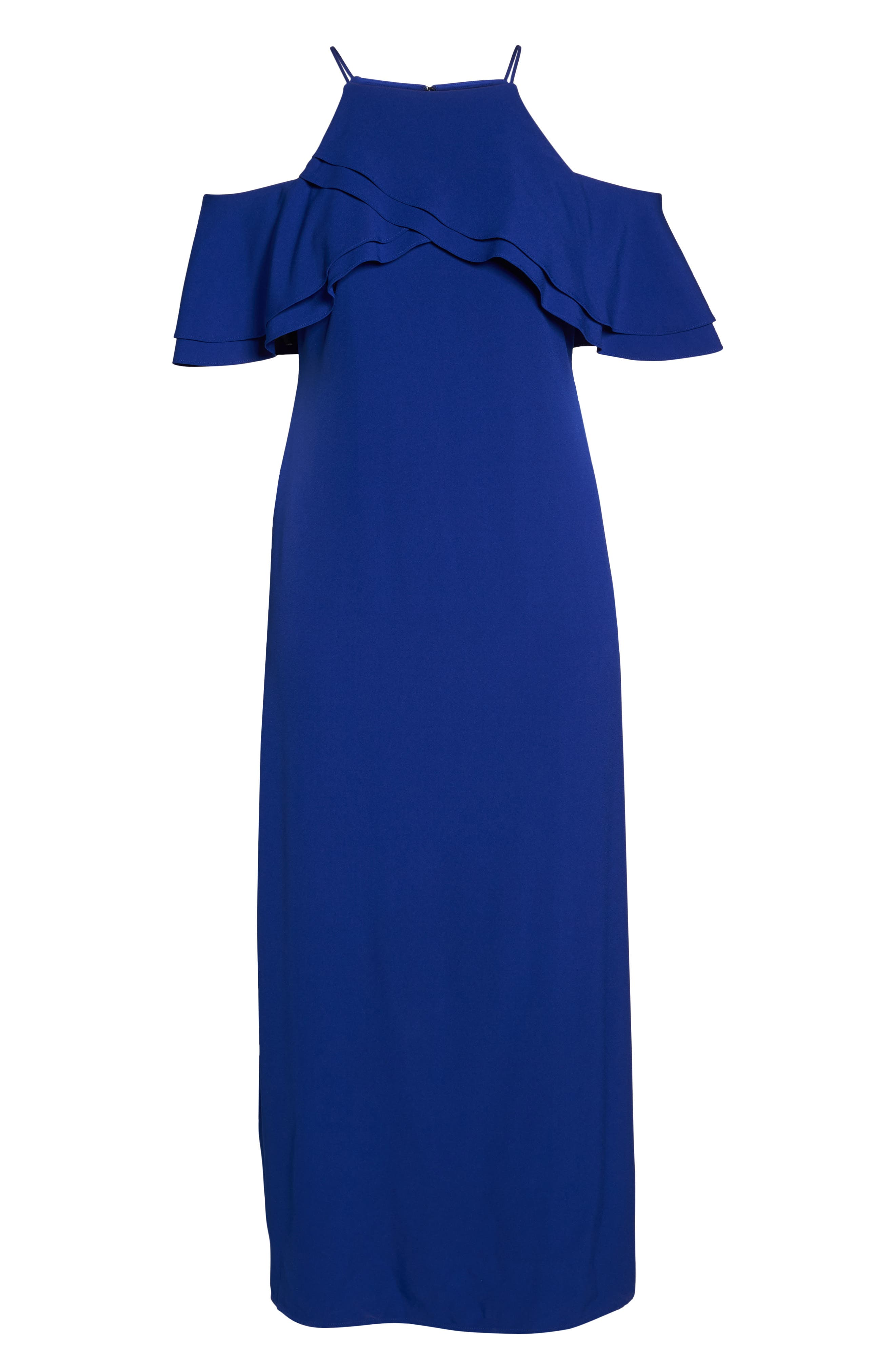 Ruffle Cold Shoulder Gown,                             Alternate thumbnail 6, color,                             400