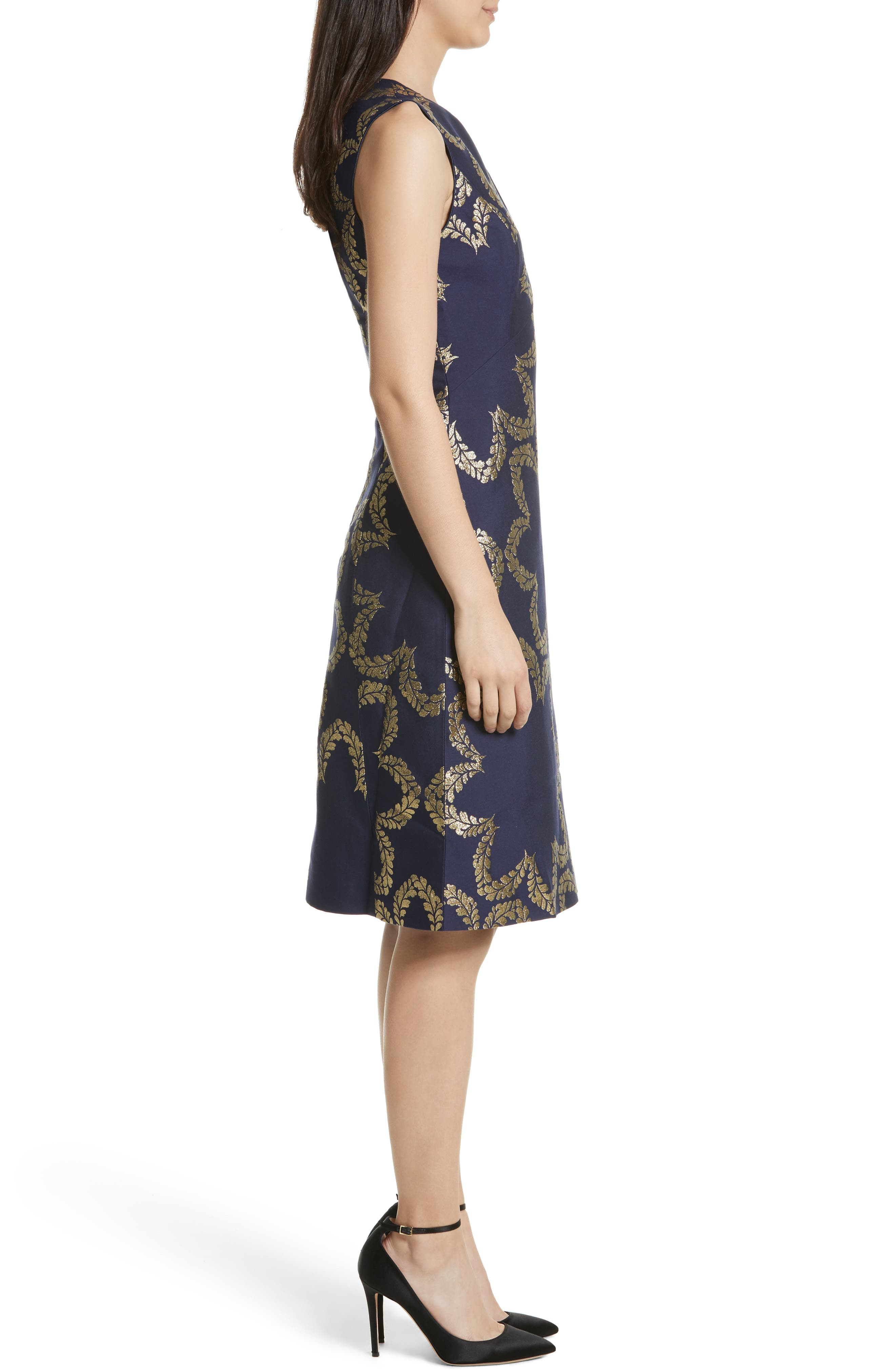 Kyoto Fit & Flare Dress,                             Alternate thumbnail 3, color,                             424