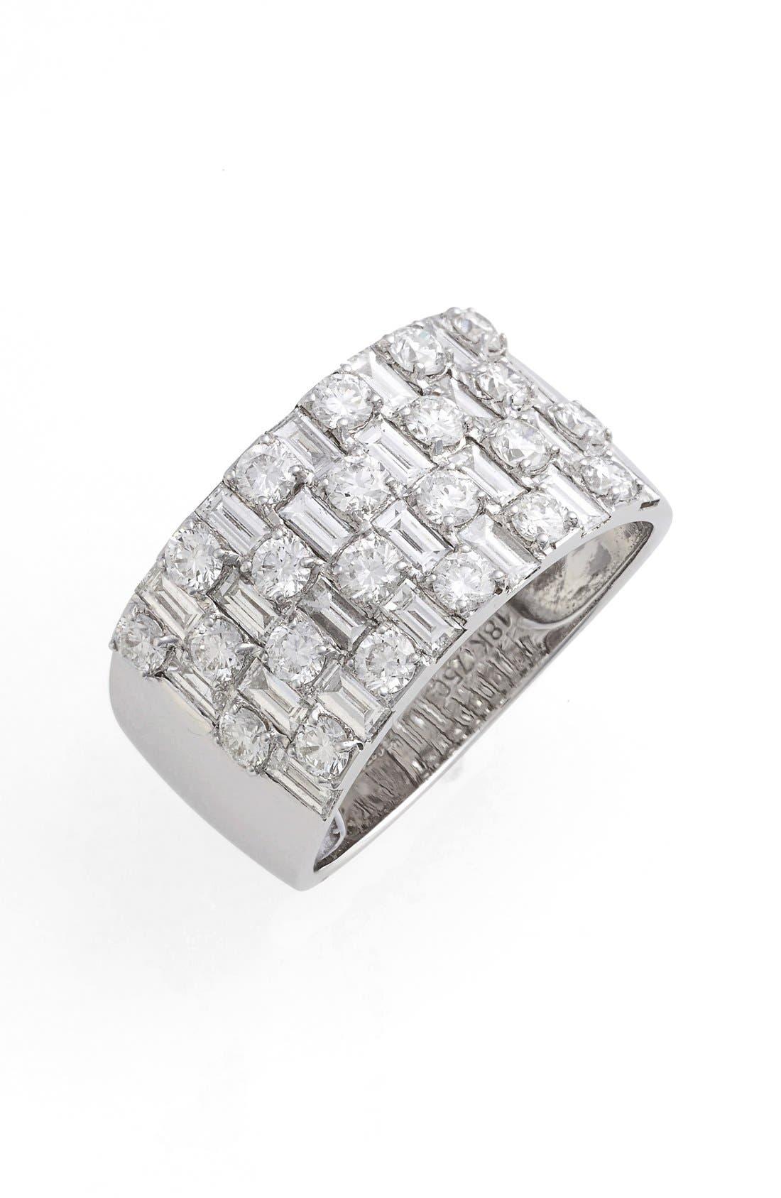 Multi Row Diamond Band Ring,                             Main thumbnail 1, color,                             WHITE GOLD