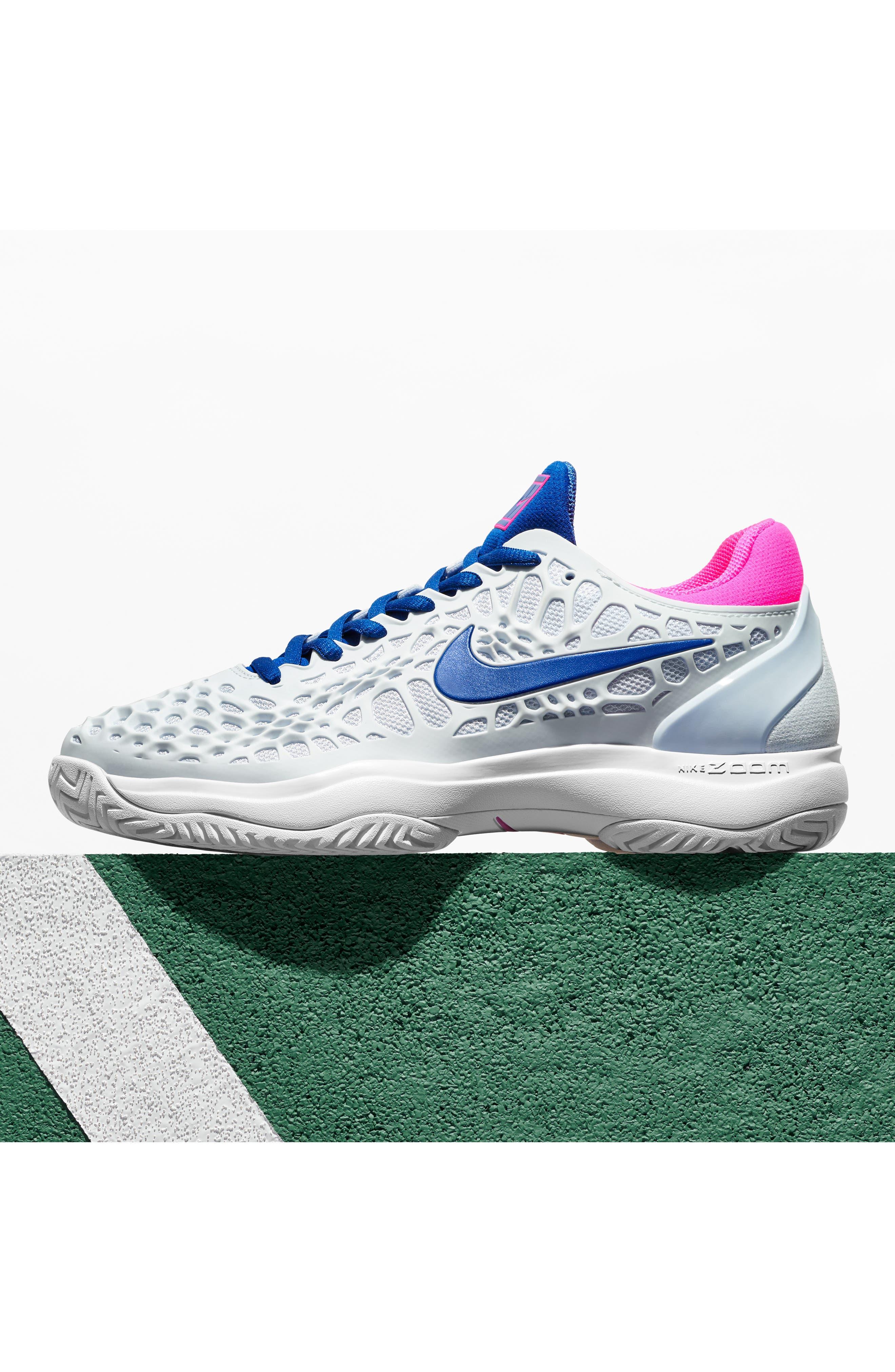 Air Zoom Cage 3 HC Tennis Shoe,                             Alternate thumbnail 7, color,                             WHITE/ SILVER/ PLATINUM
