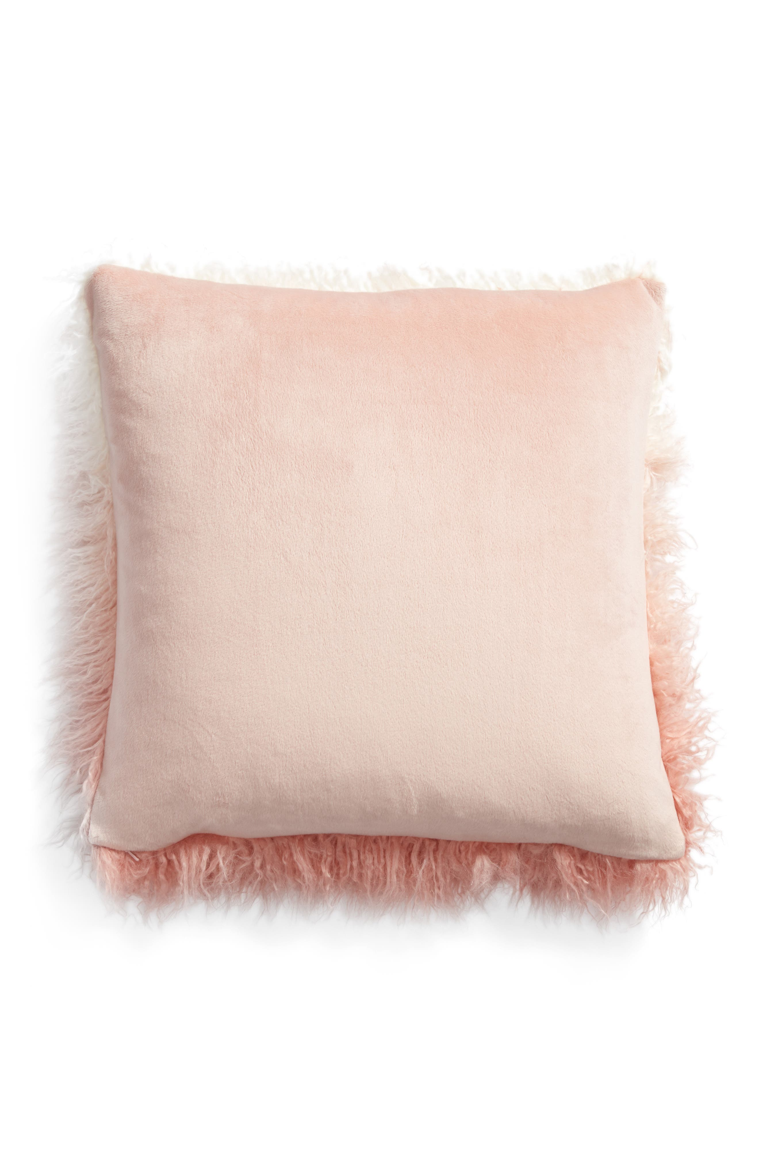 Ombré Faux Fur Flokati Accent Pillow,                             Alternate thumbnail 9, color,