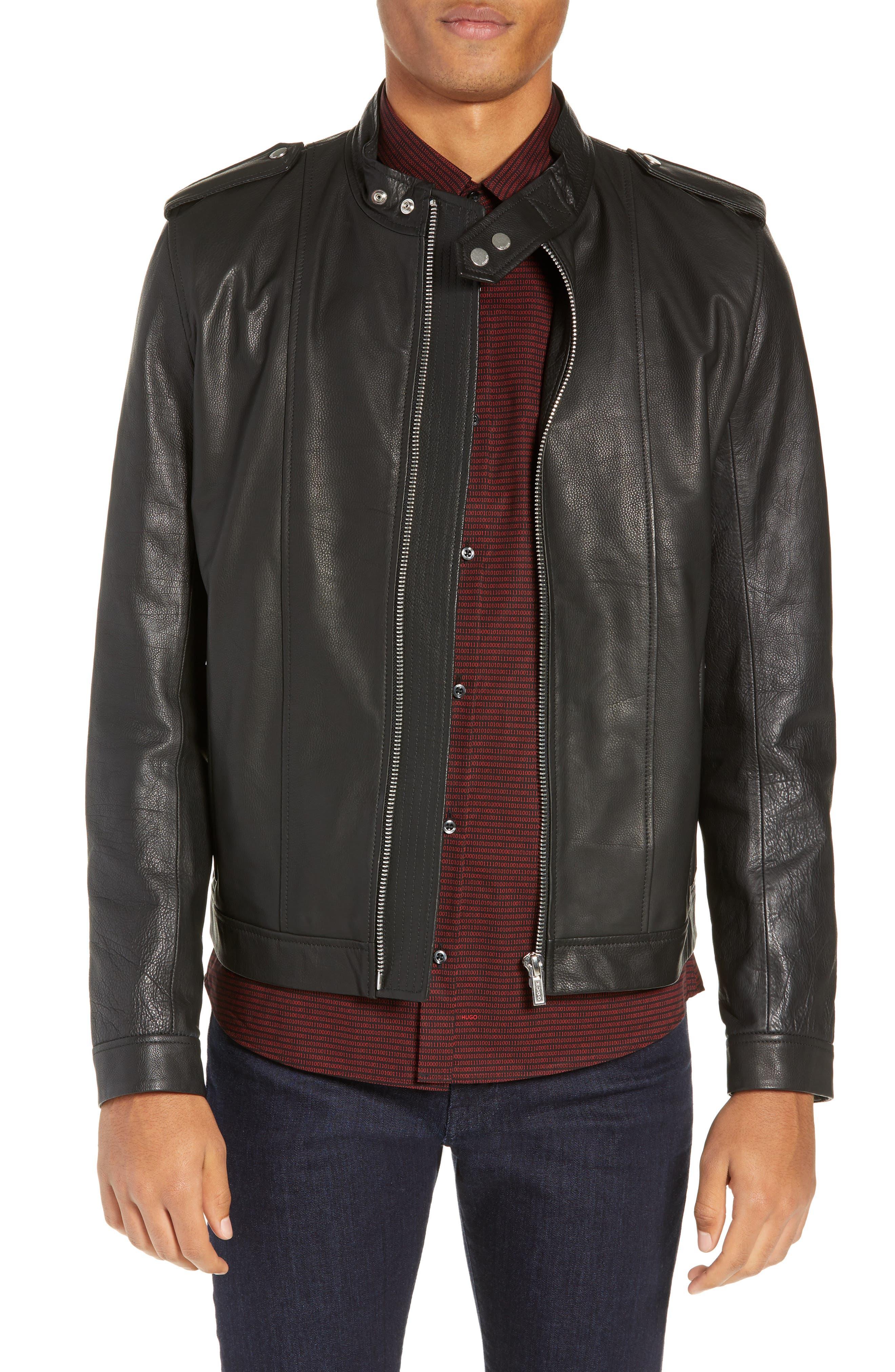 Lector Slim Leather Jacket,                         Main,                         color, BLACK