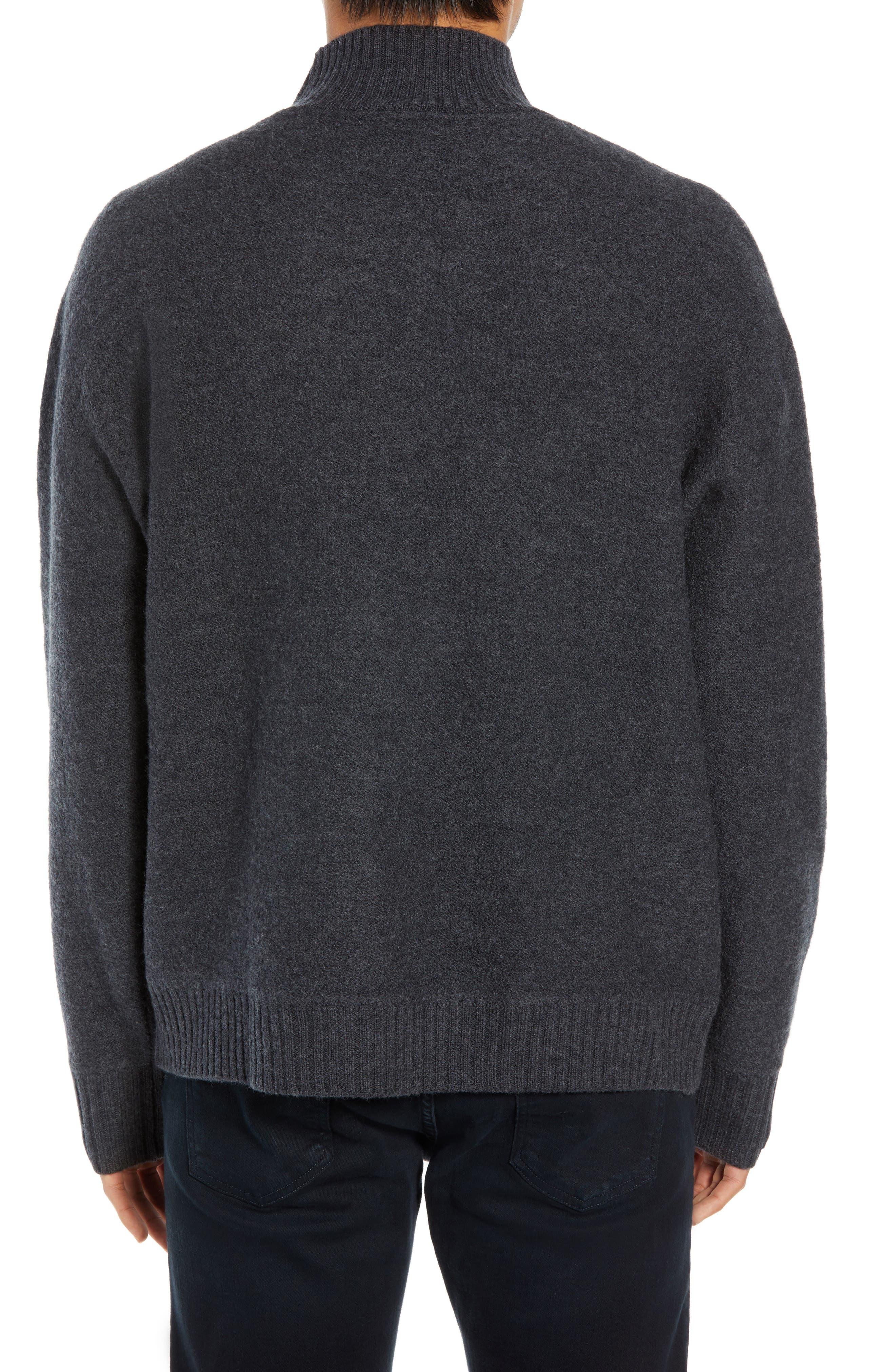 Bold Funnel Neck Wool Sweater,                             Alternate thumbnail 2, color,                             GREY MELANGE