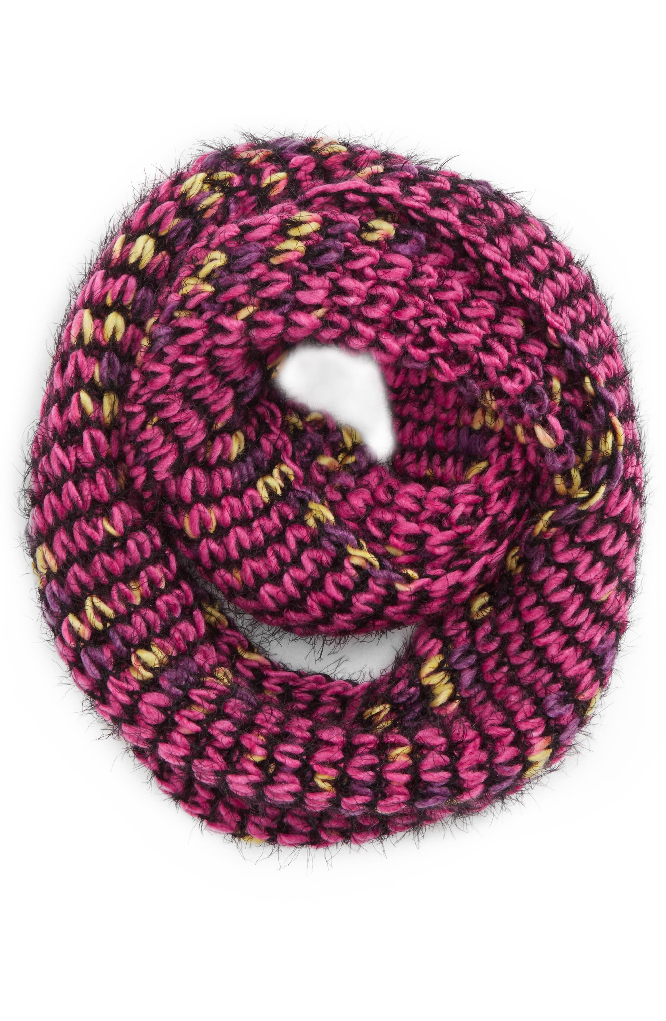 Knit Infinity Scarf,                             Main thumbnail 1, color,                             PINK MULTI