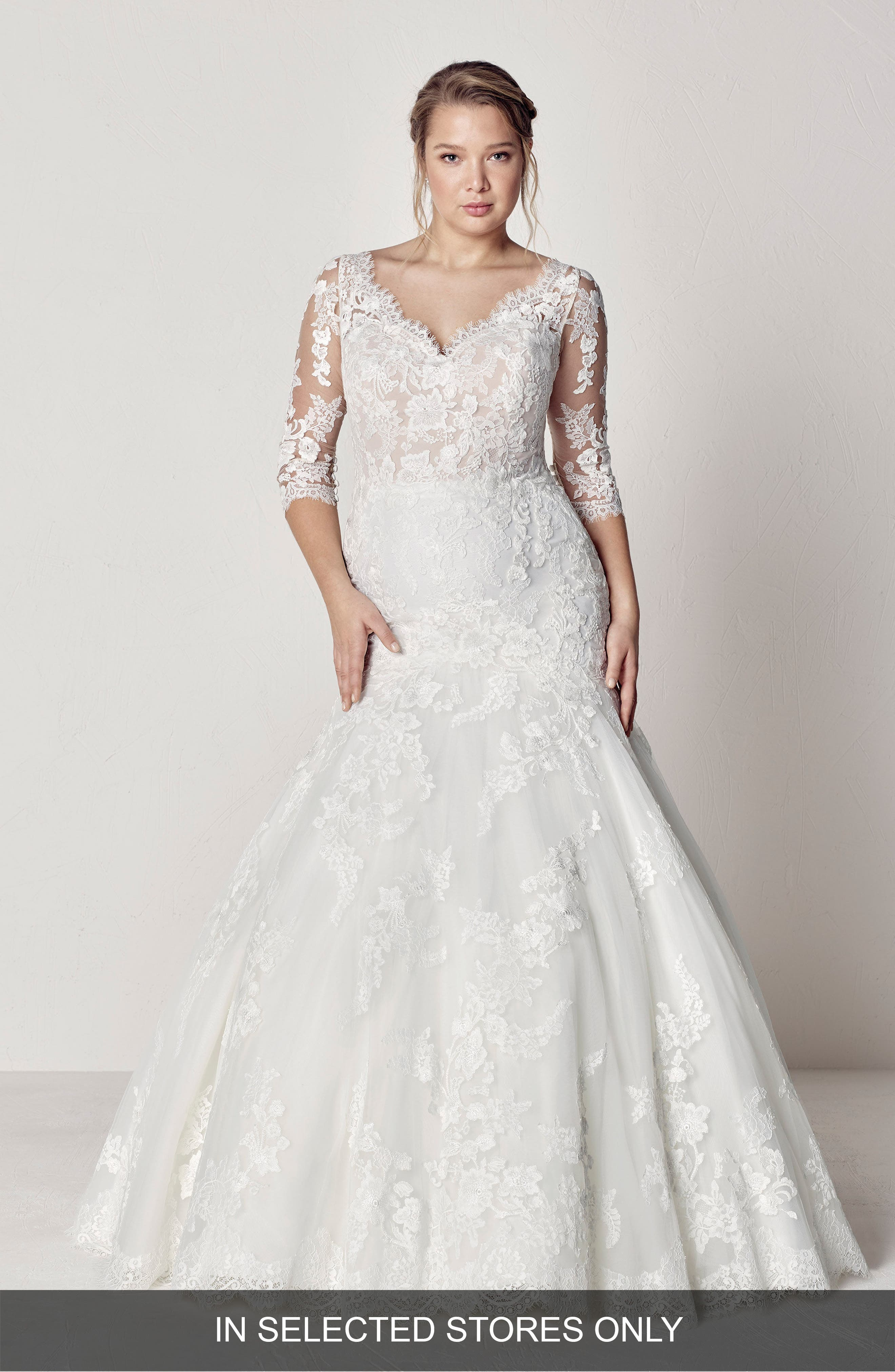 Evelyn Lace Mermaid Gown,                             Main thumbnail 1, color,                             OFF WHITE/ CRST/ ND