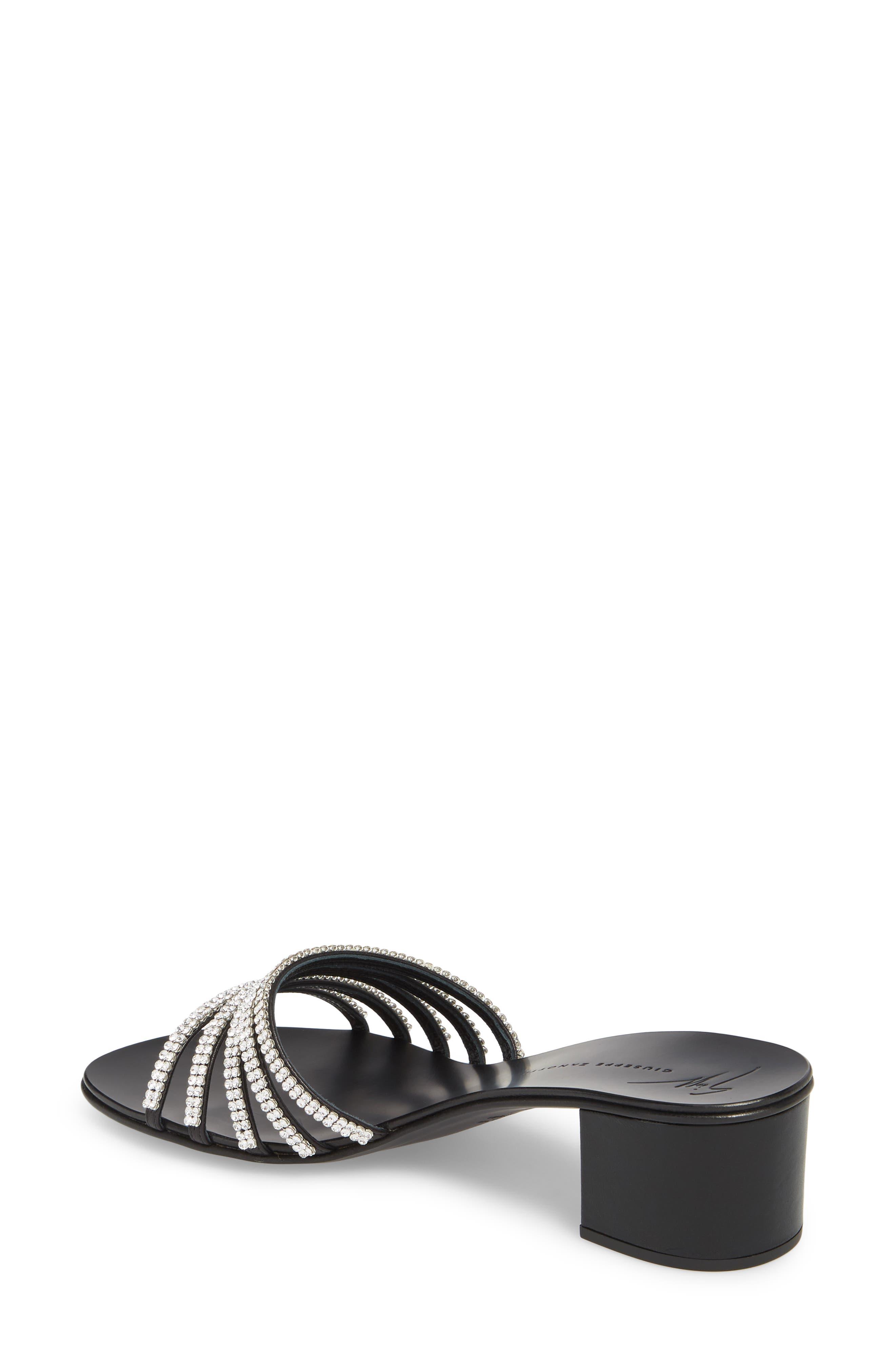 Swarovski Crystal Slide Sandal,                             Alternate thumbnail 2, color,                             BLACK