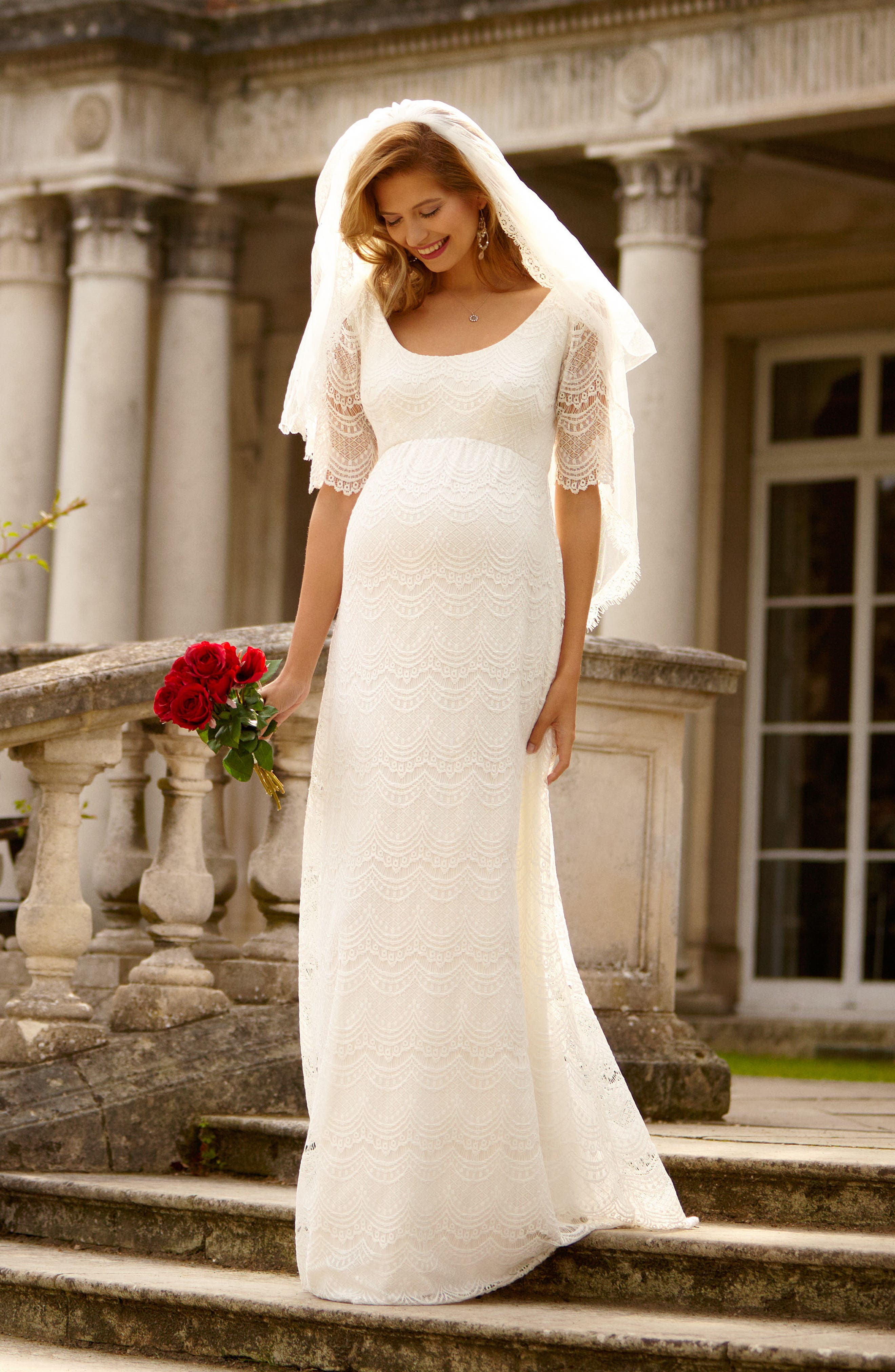 Verona Maternity Gown,                             Alternate thumbnail 5, color,                             BRIGHT IVORY