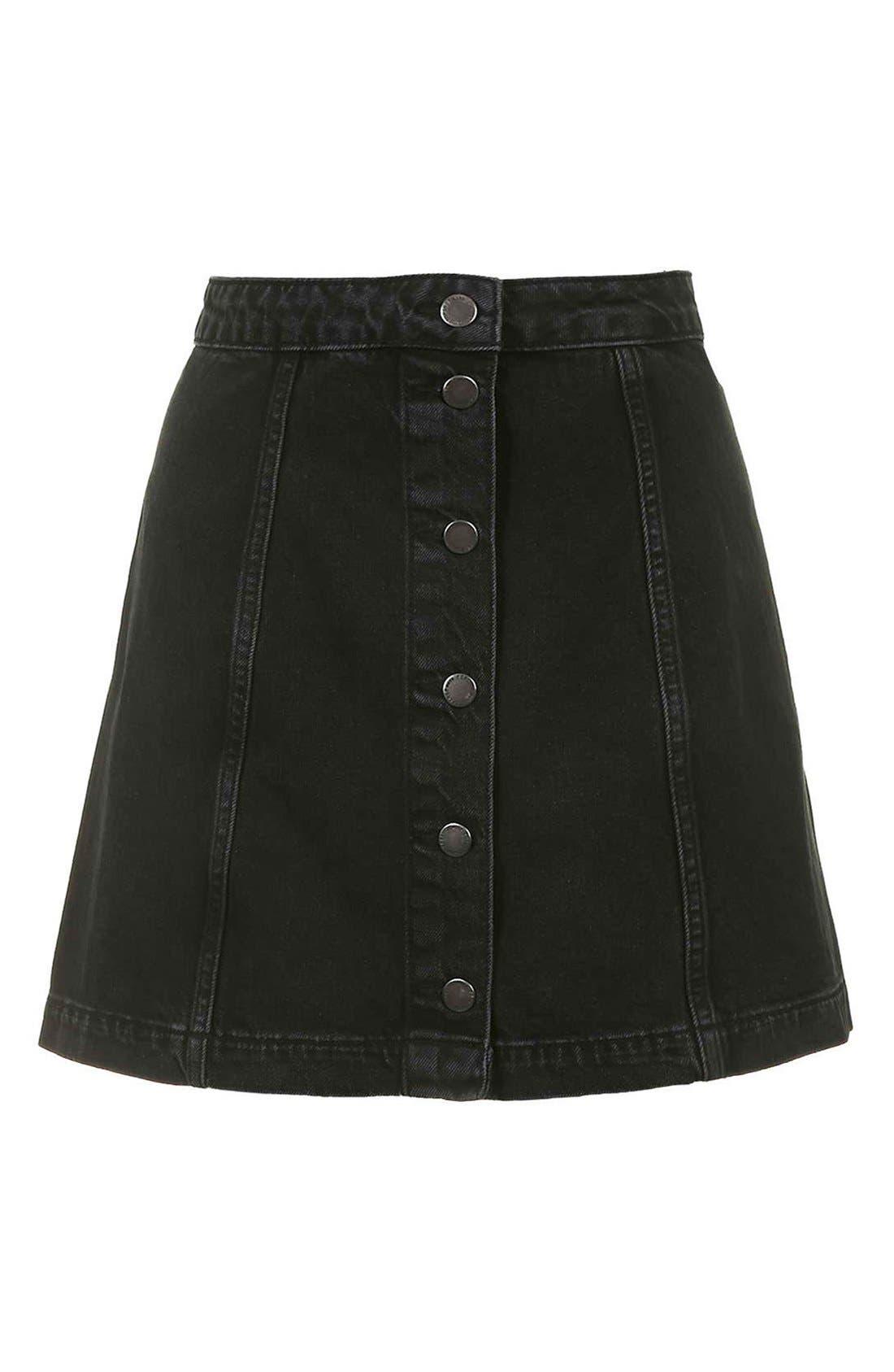 Button Front A-Line Denim Skirt,                             Alternate thumbnail 4, color,                             001