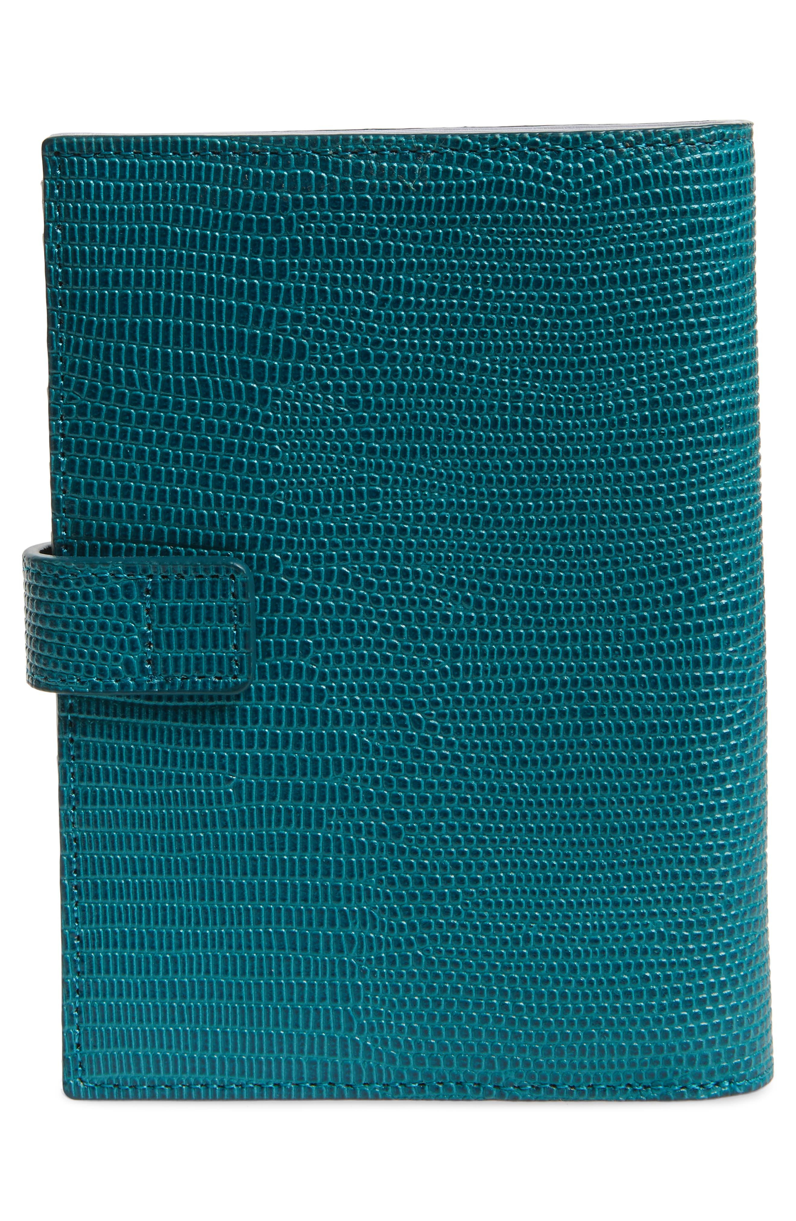 Lauren Lizard Embossed Leather Bifold Wallet,                             Alternate thumbnail 4, color,                             TEAL HARBOR