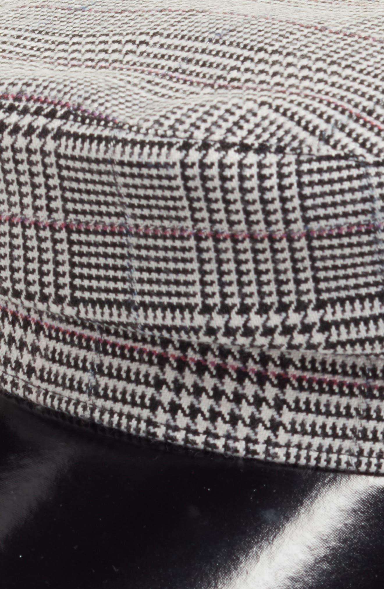 Faux Leather & Glen Plaid Baker Boy Hat,                             Alternate thumbnail 2, color,                             001
