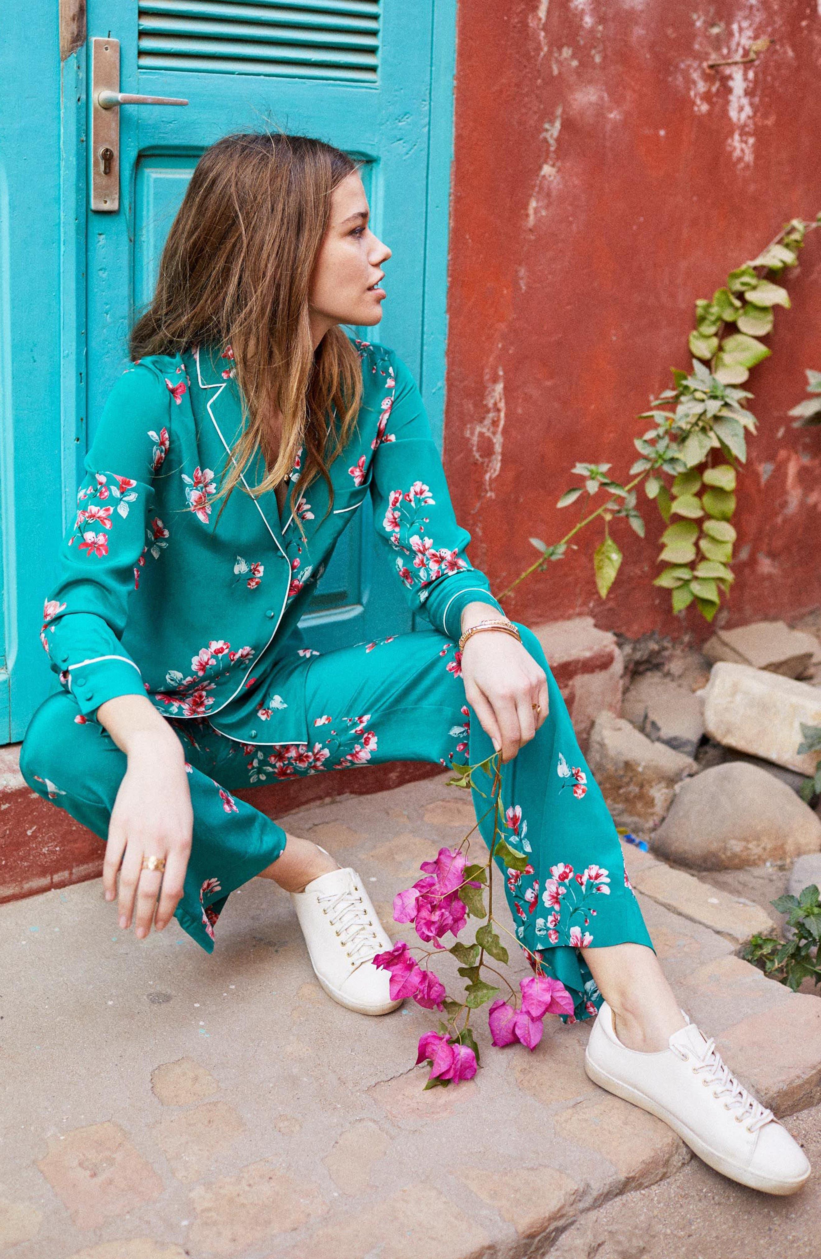 Elisa Floral Silk Pajama Shirt,                             Alternate thumbnail 5, color,                             440