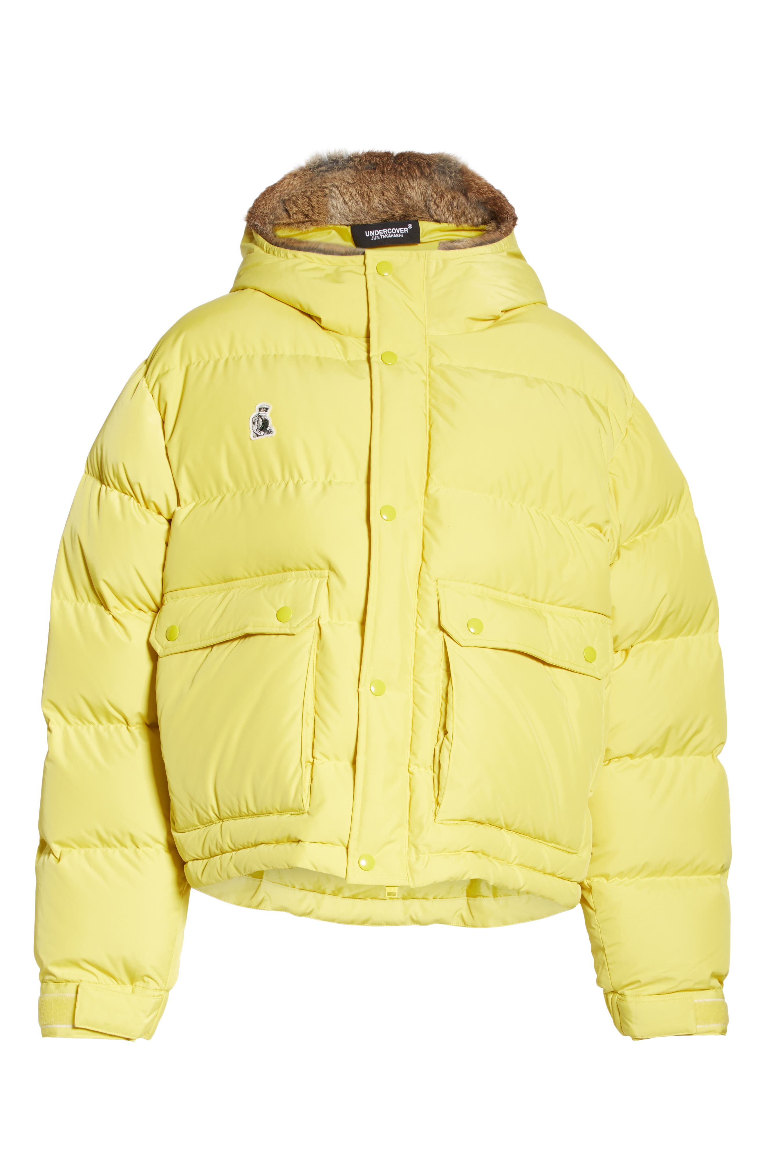 UNDERCOVER,                             Hooded Puffer Coat With Genuine Rabbit Fur Trim,                             Alternate thumbnail 5, color,                             700