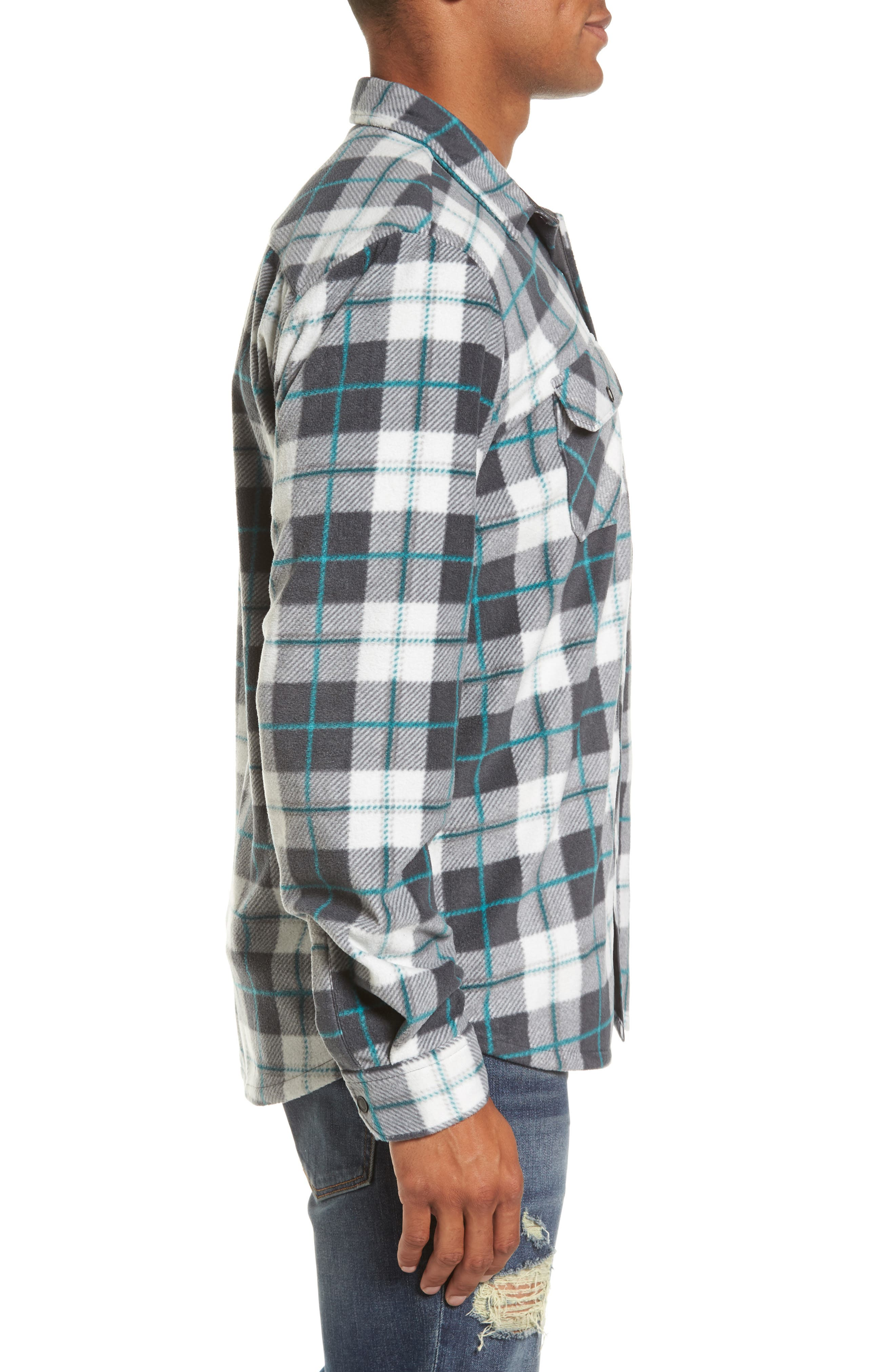 Glacier Plaid Fleece Flannel Shirt,                             Alternate thumbnail 14, color,