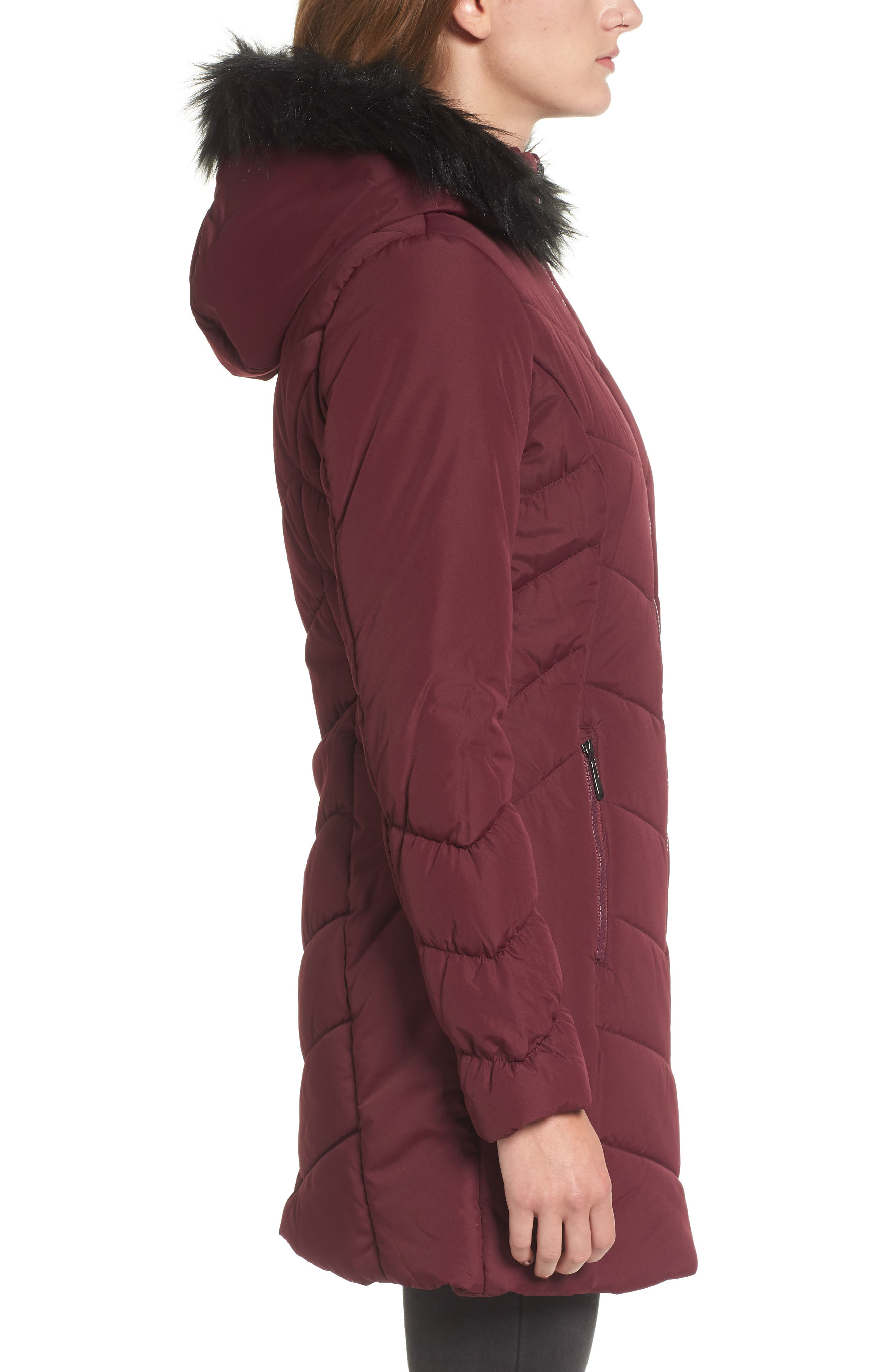 Faux Fur Trim Hooded Puffer Jacket,                             Alternate thumbnail 3, color,                             930