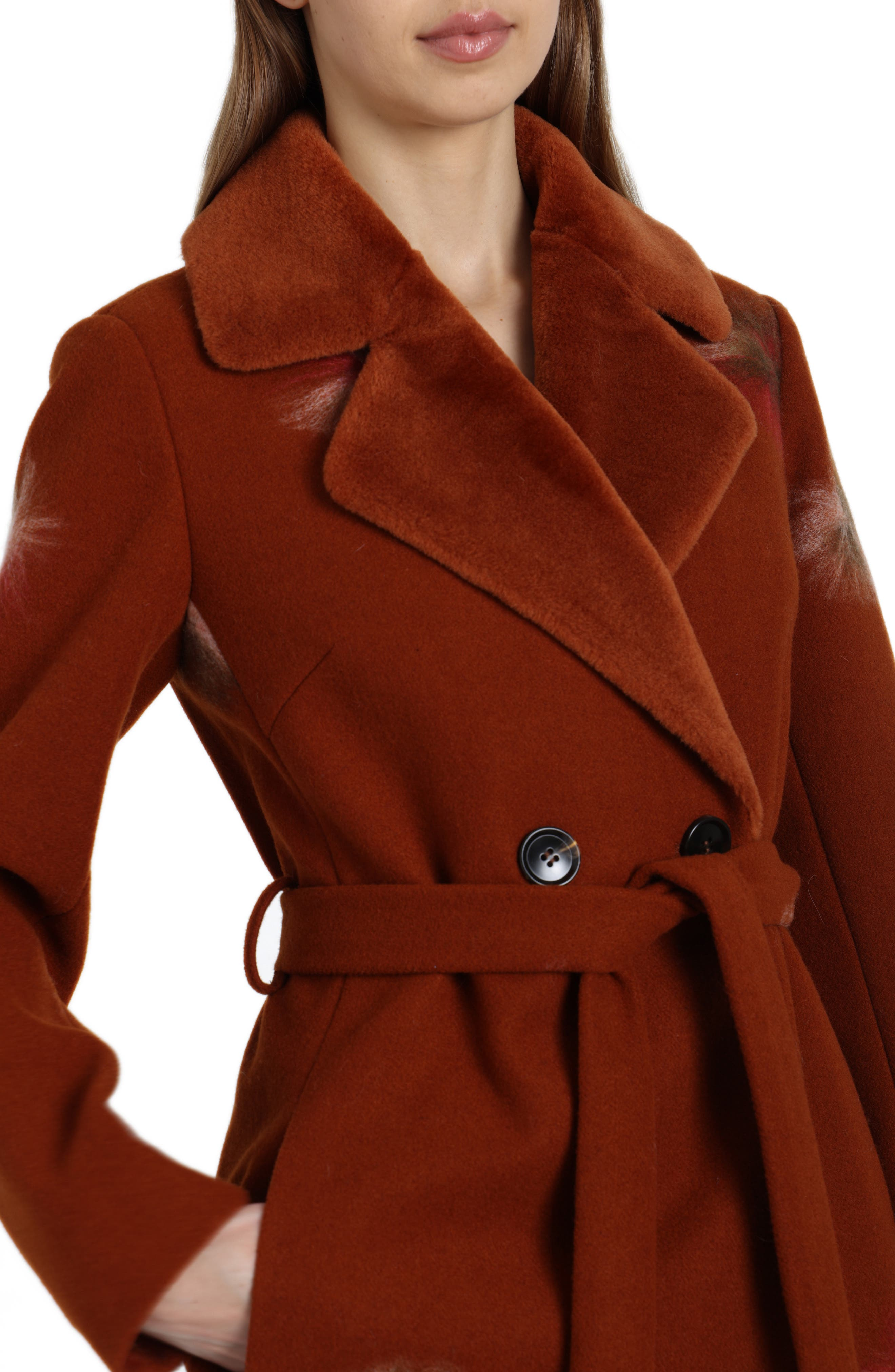 BADGLEY MISCHKA COLLECTION,                             Badgley Mischka Felted Embroidery Wool Blend Coat,                             Alternate thumbnail 4, color,                             801