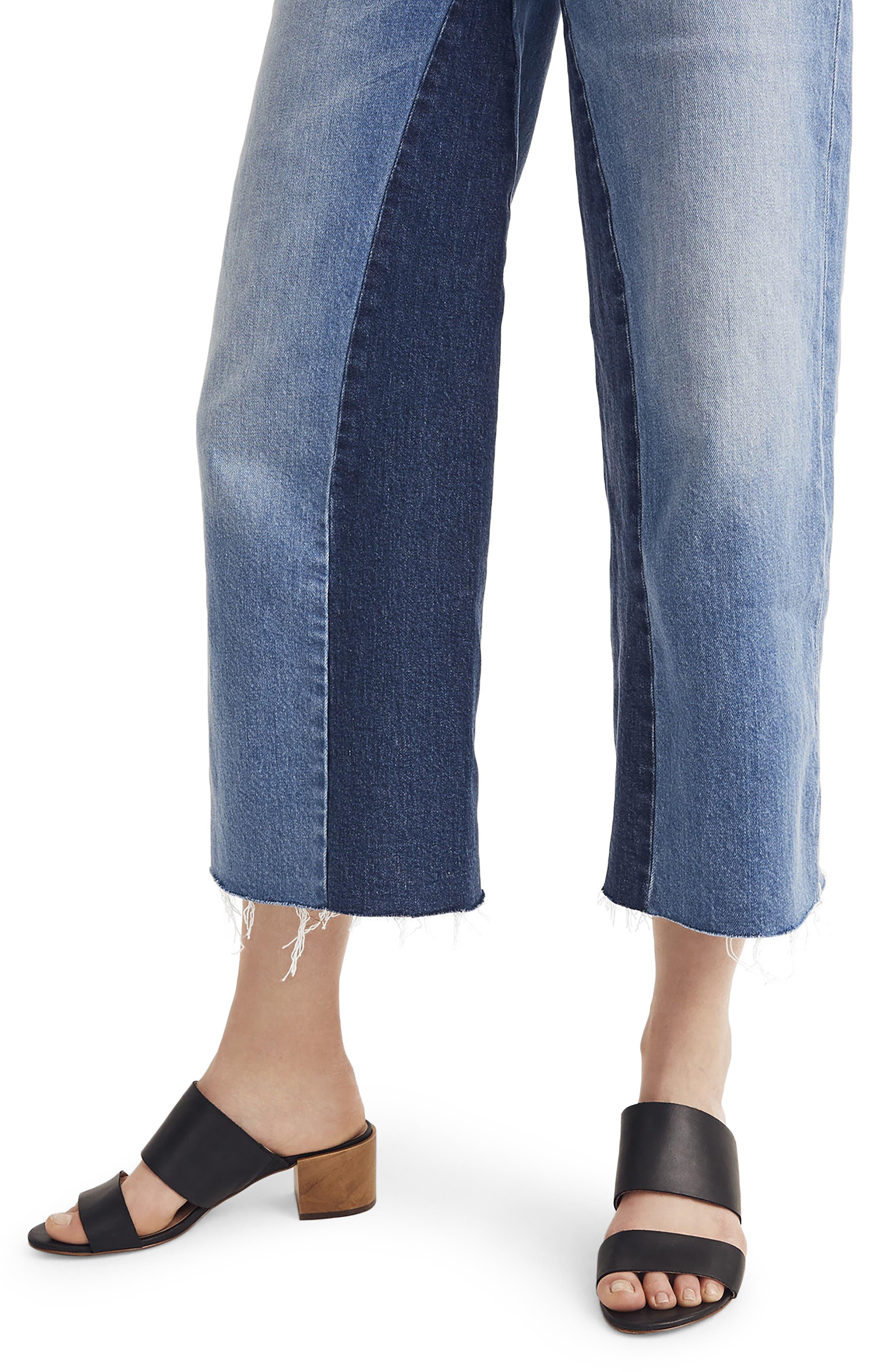 Gusset Crop Wide Leg Jeans,                             Alternate thumbnail 5, color,                             400