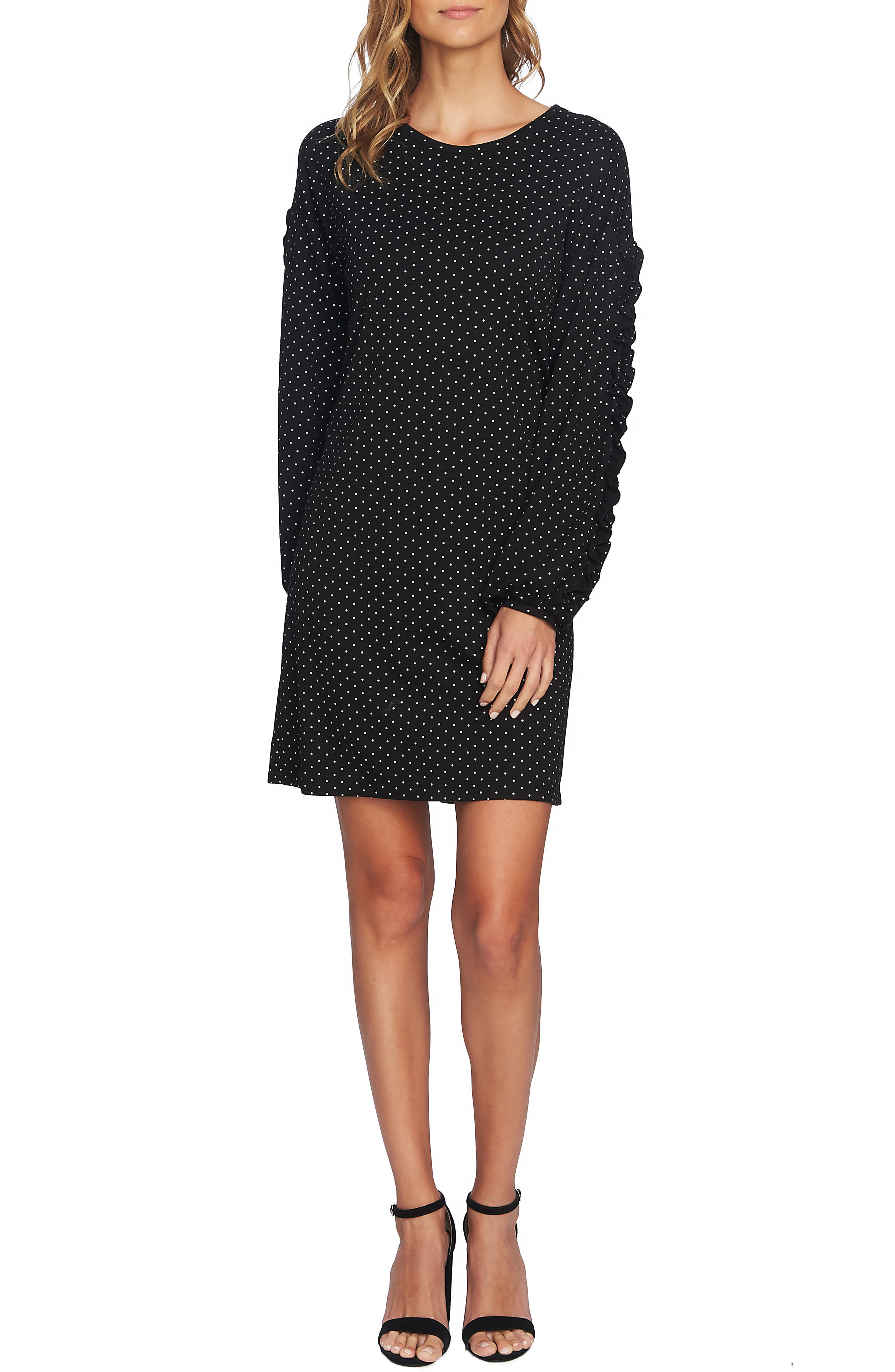 Pin Dot Ruffle Sleeve Dress,                             Main thumbnail 1, color,                             RICH BLACK
