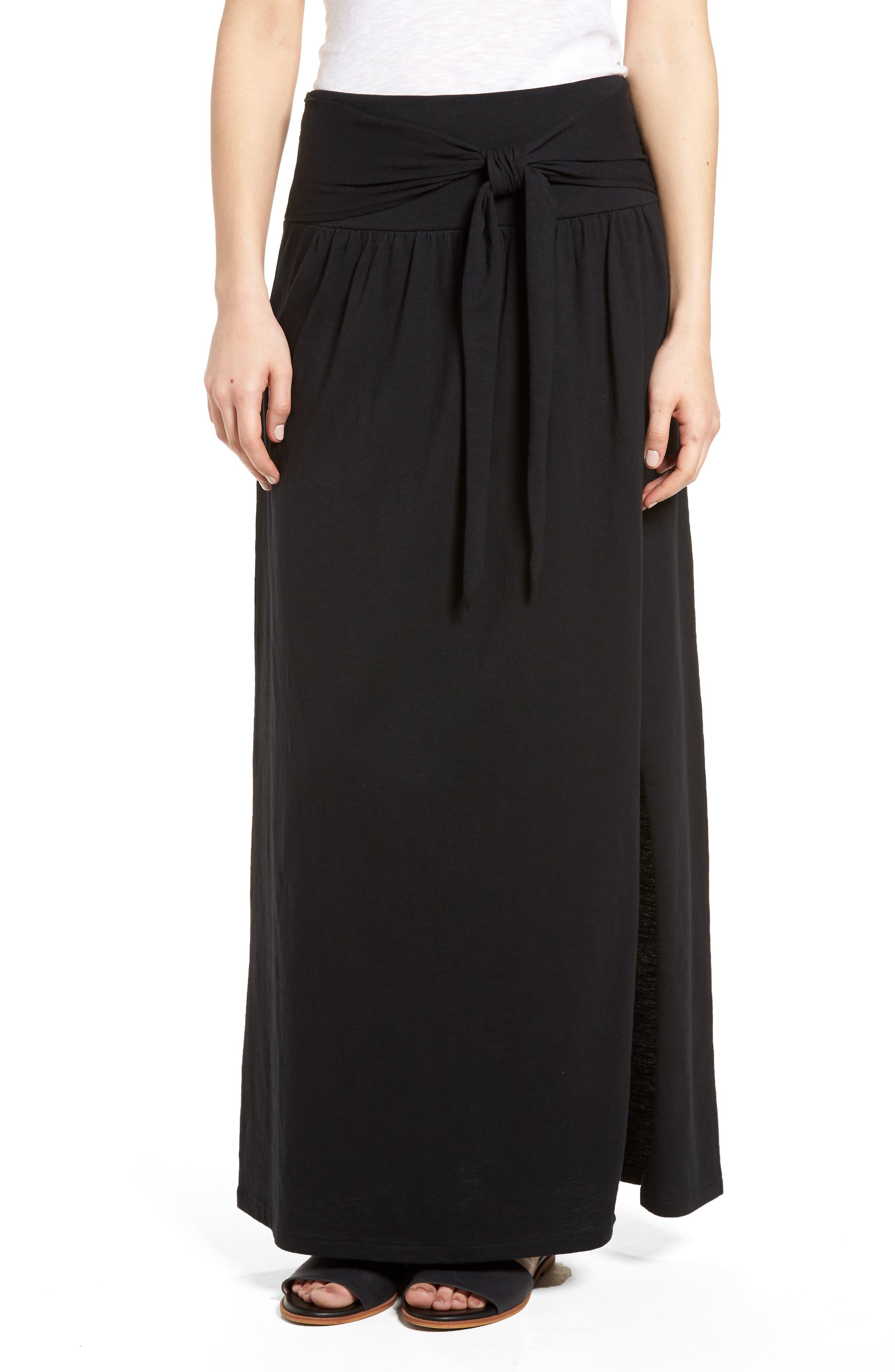 Tie Front Cotton Maxi Skirt,                             Main thumbnail 1, color,                             001