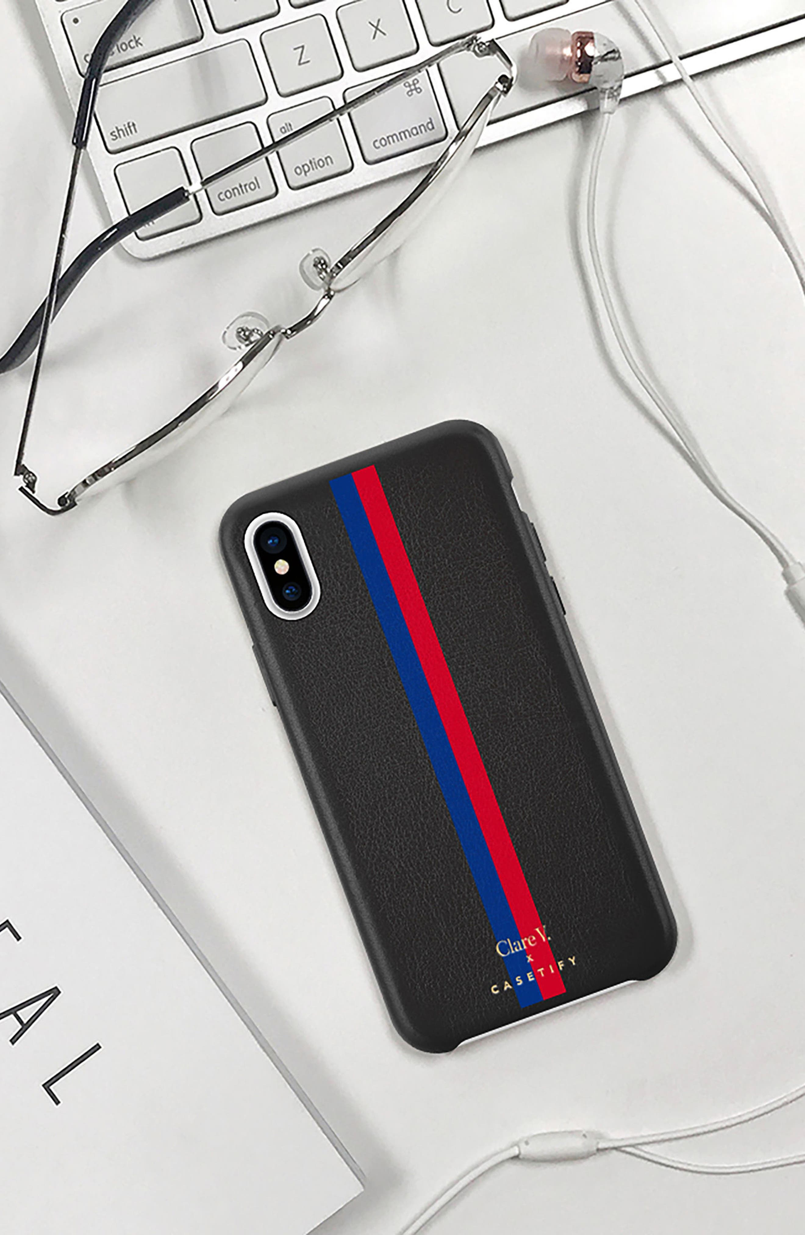 x Clare V. Stripe Leather iPhone X/Xs Case,                             Alternate thumbnail 7, color,                             001