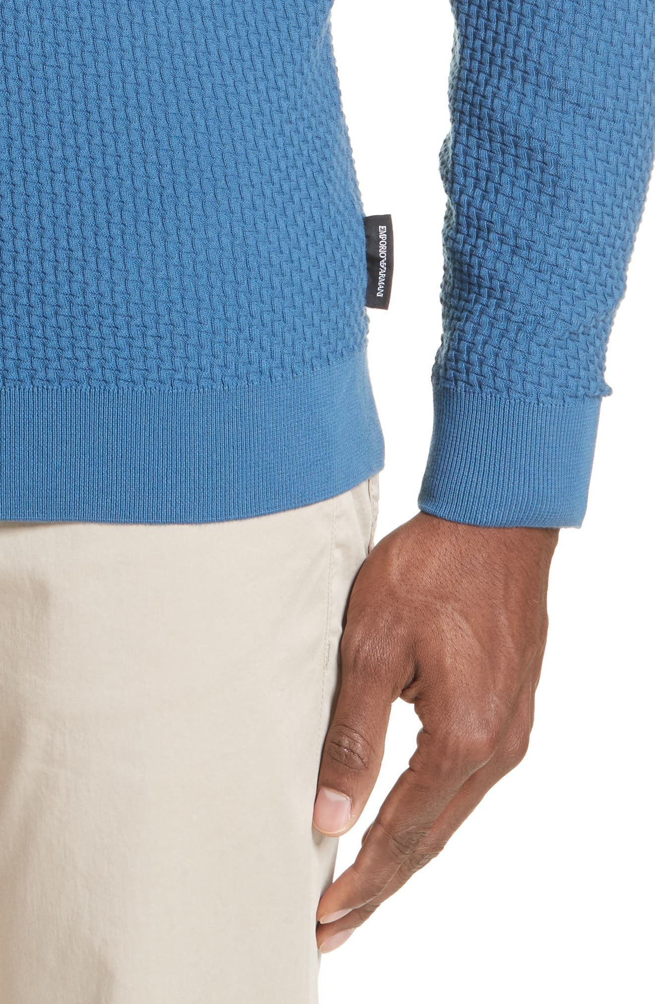 Slim Fit Textured Crew Sweater,                             Alternate thumbnail 4, color,                             AVIO SCURO
