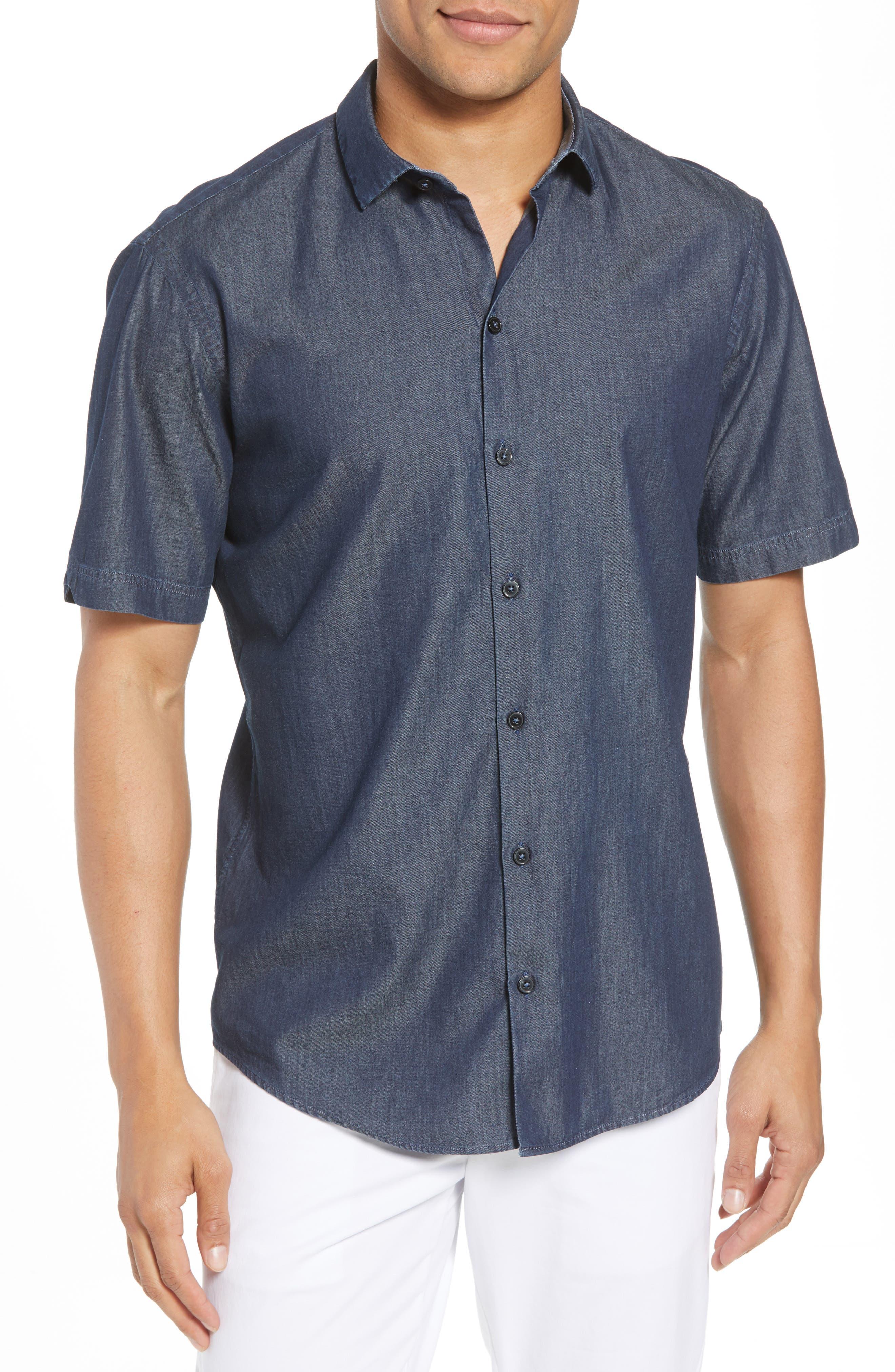 ZACHARY PRELL Manolis Denim Sport Shirt, Main, color, 471