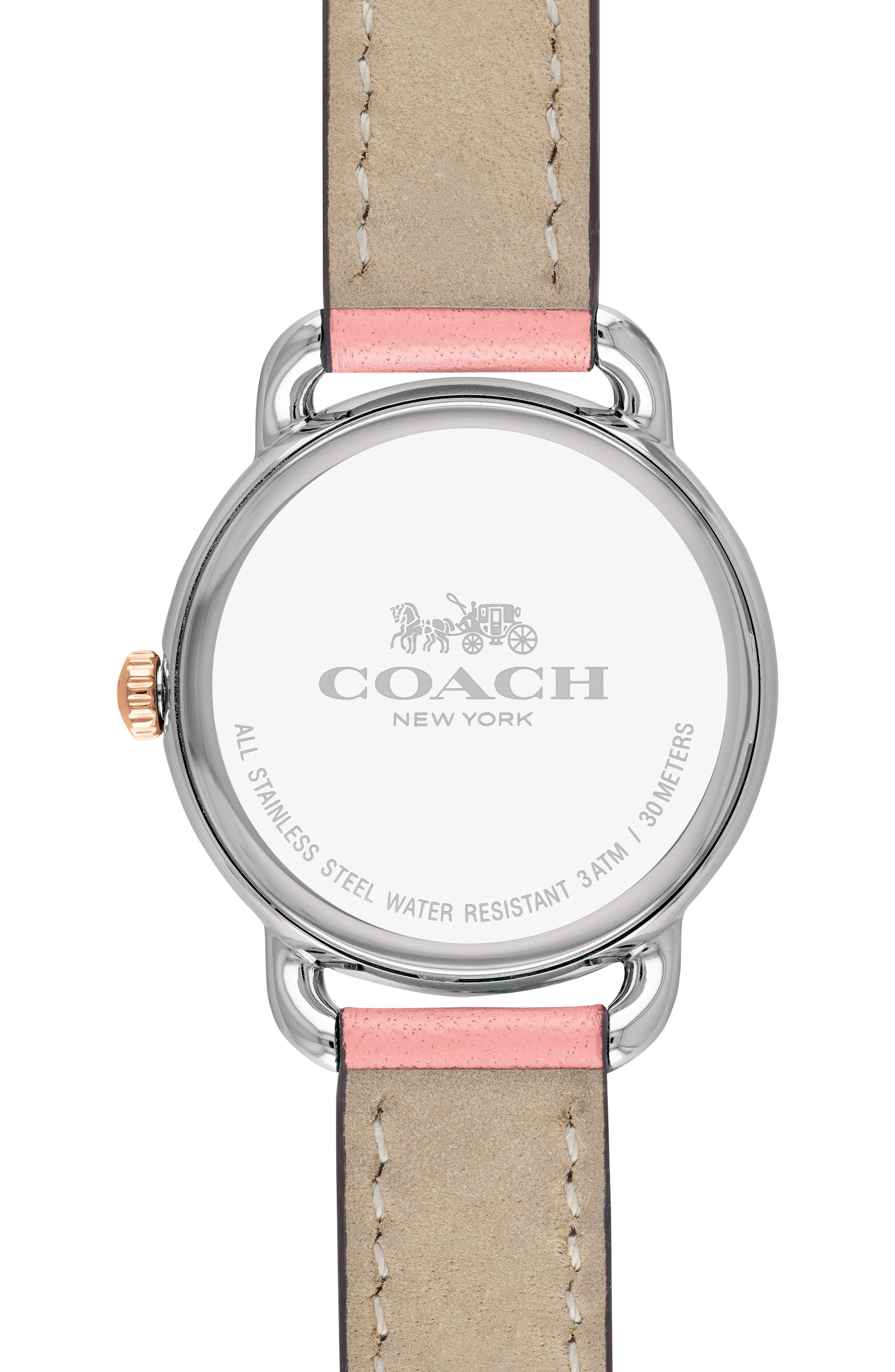 Delancey Charm Detail Leather Strap Watch, 36mm,                             Alternate thumbnail 2, color,                             BLUSH/ SILVER