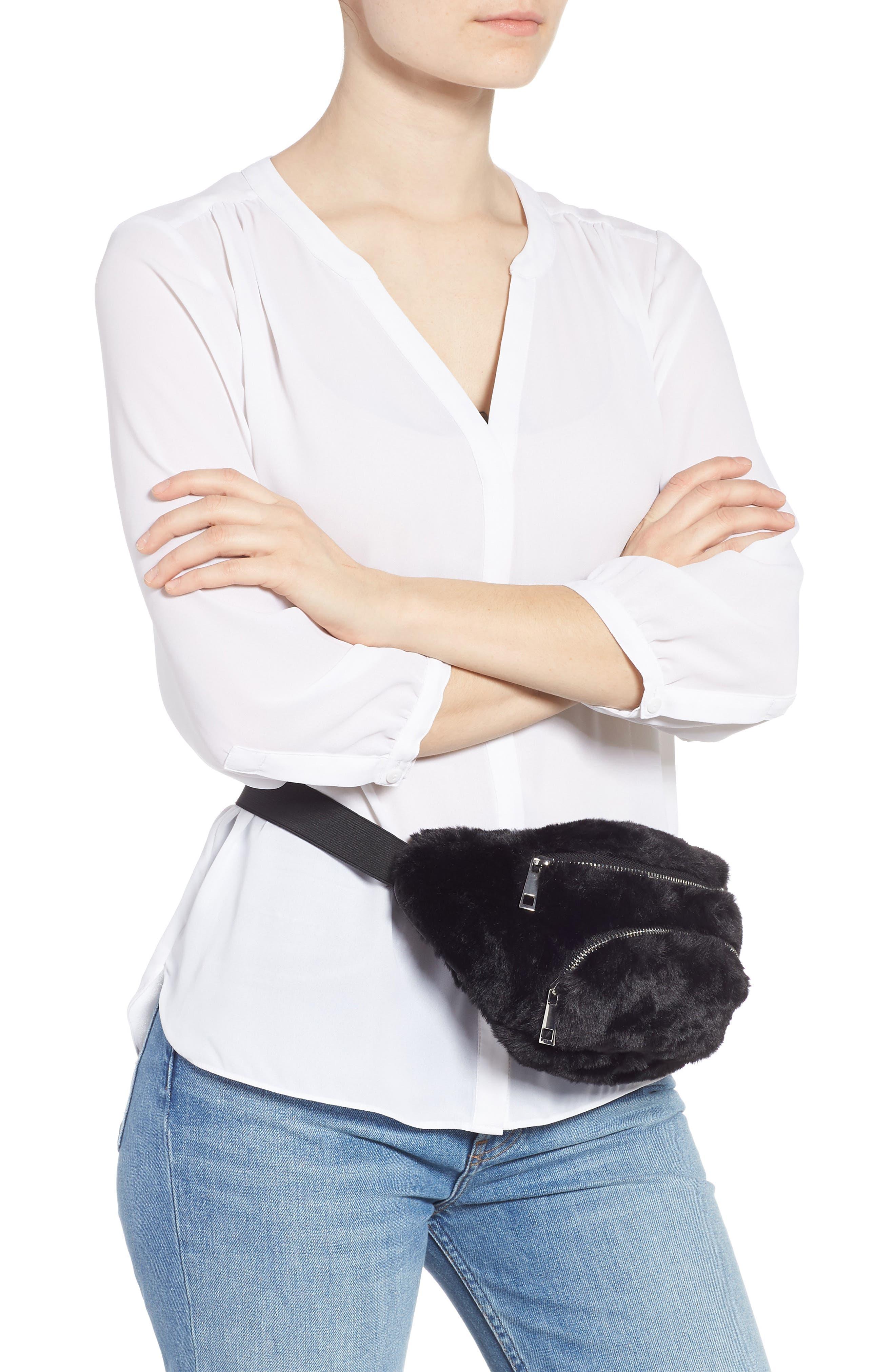 Jaida Faux Fur Belt Bag,                             Alternate thumbnail 2, color,                             BLACK