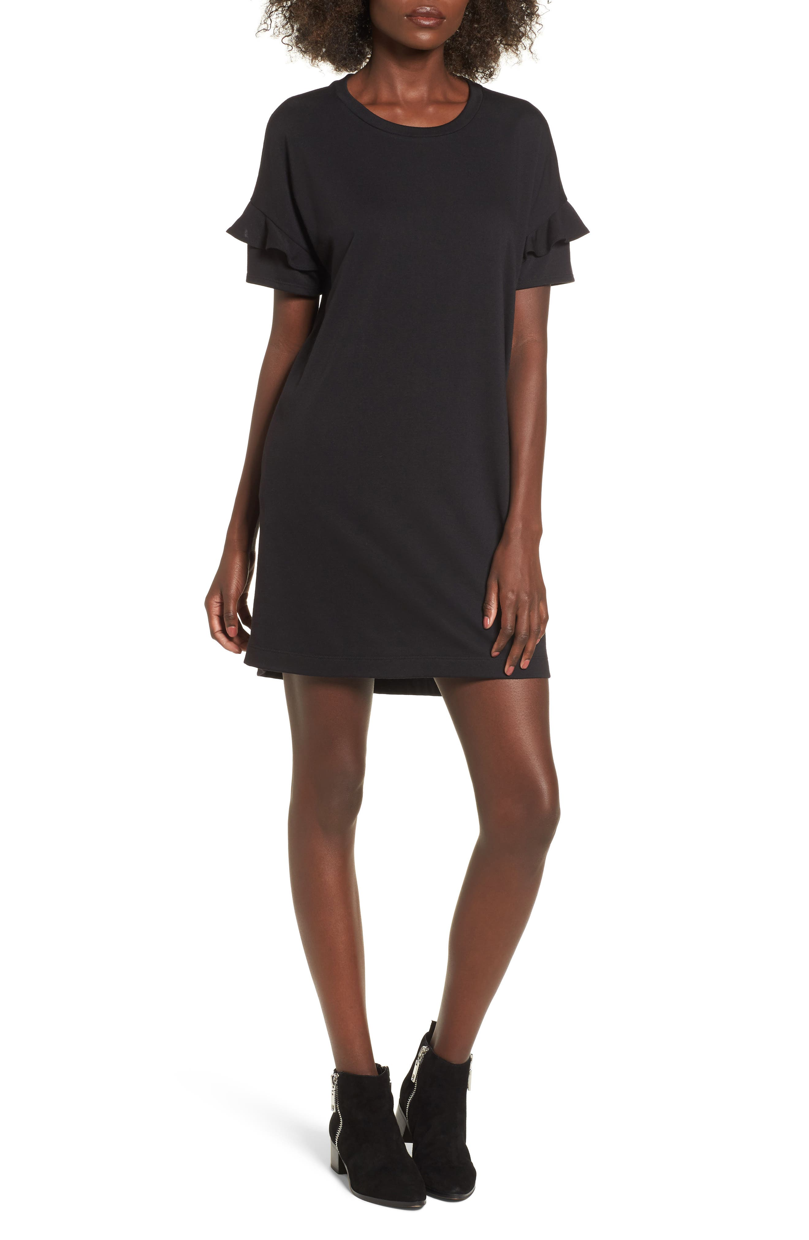 Ruffle Sleeve T-Shirt Dress,                         Main,                         color, BLACK