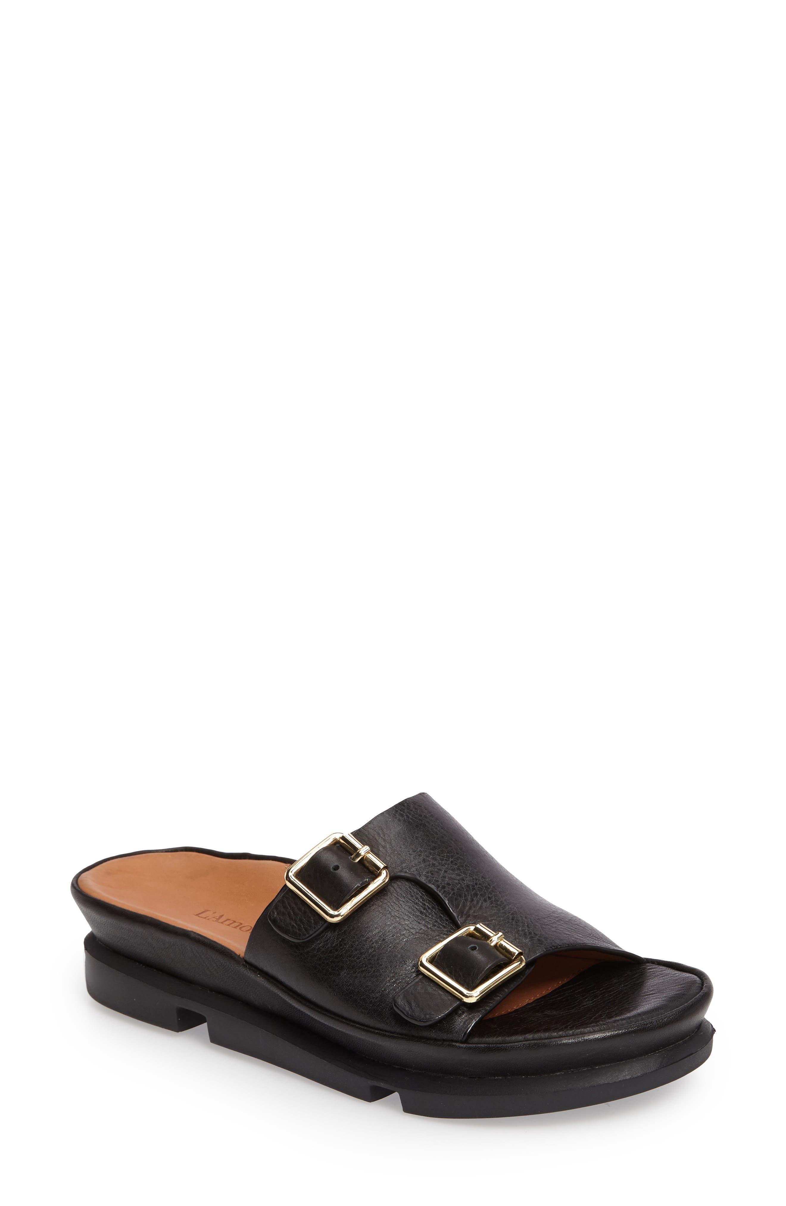 Viareggio Slide Sandal,                         Main,                         color, BLACK LEATHER