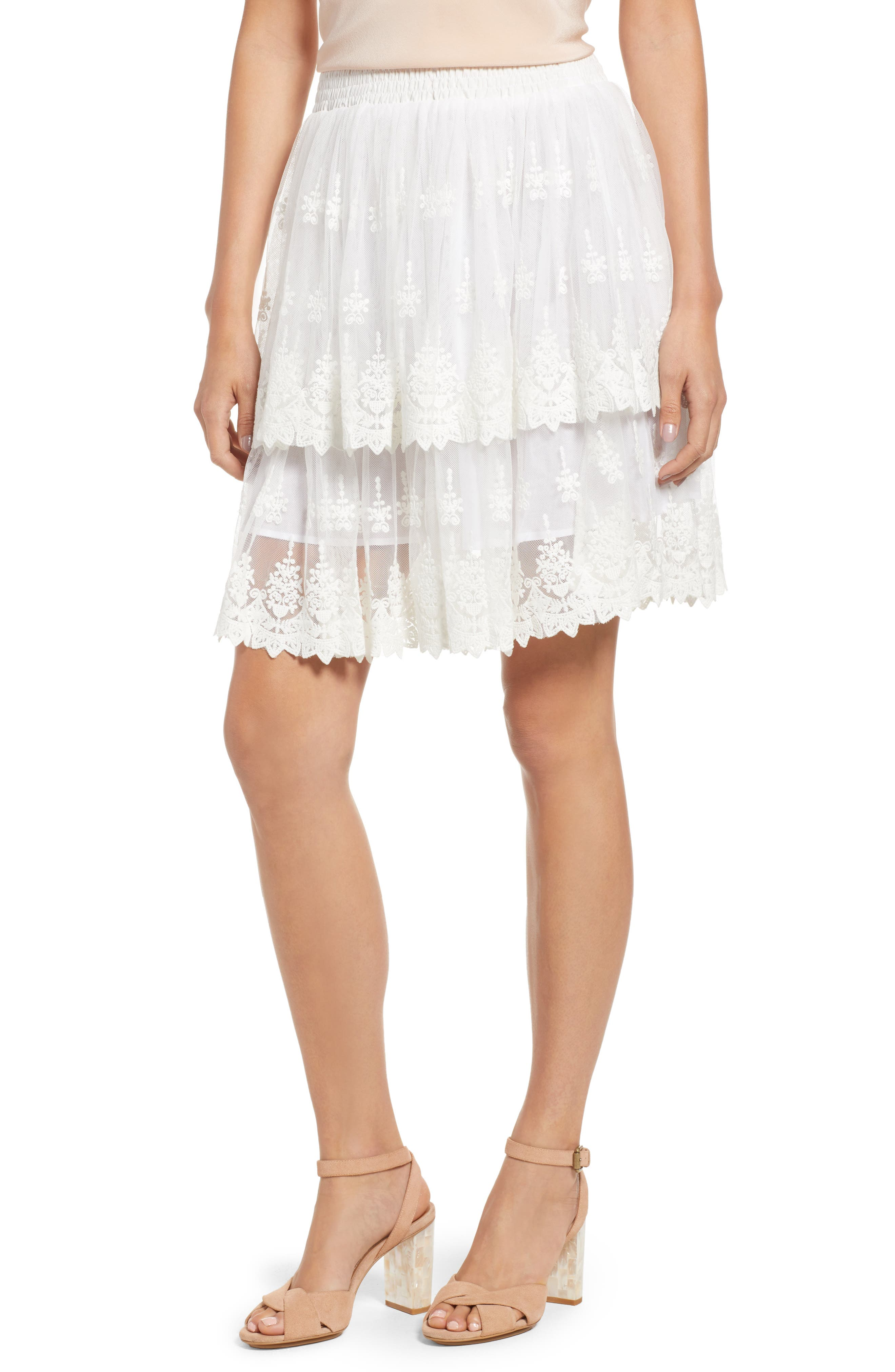 Francine Tiered Lace Skirt,                         Main,                         color, WHITE