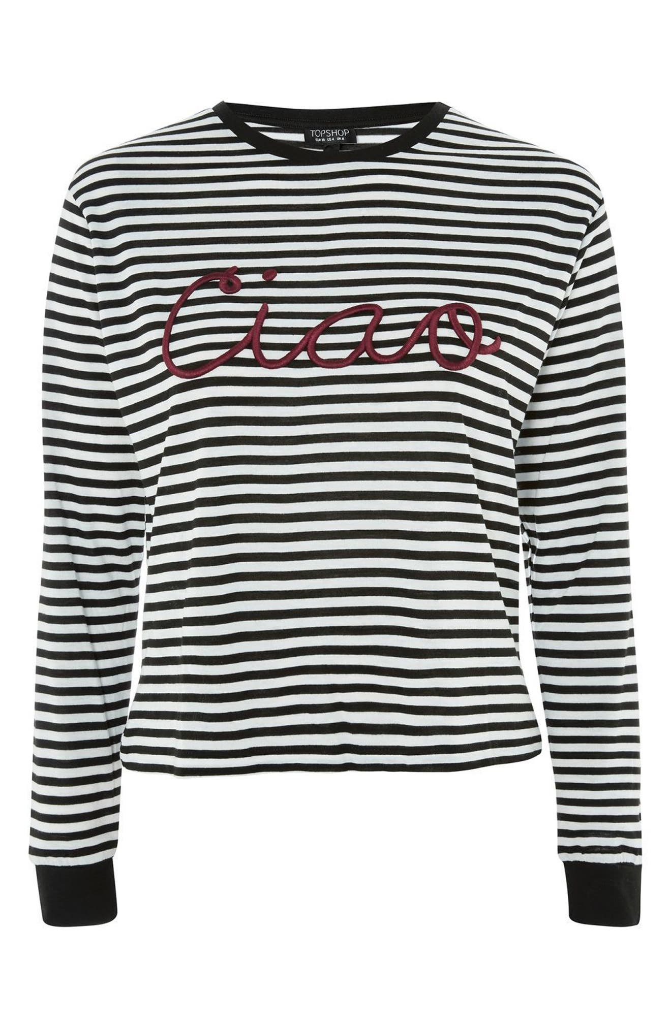 Embroidered Ciao Stripe Tee,                             Alternate thumbnail 3, color,                             001